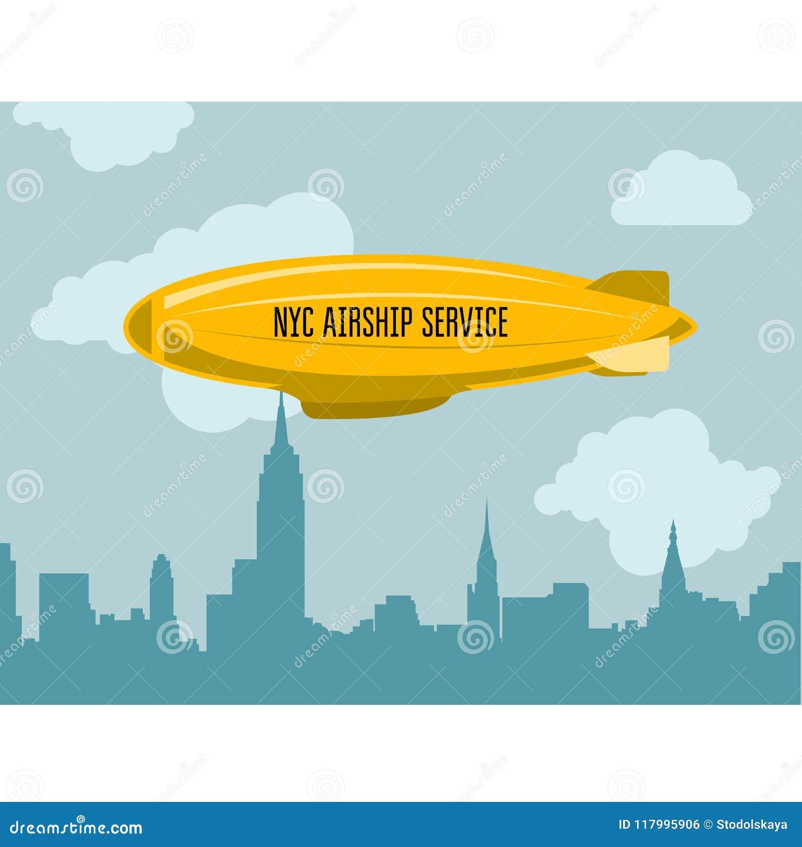 Дирижабль над городом - Зеппелином с сообщением рекламы