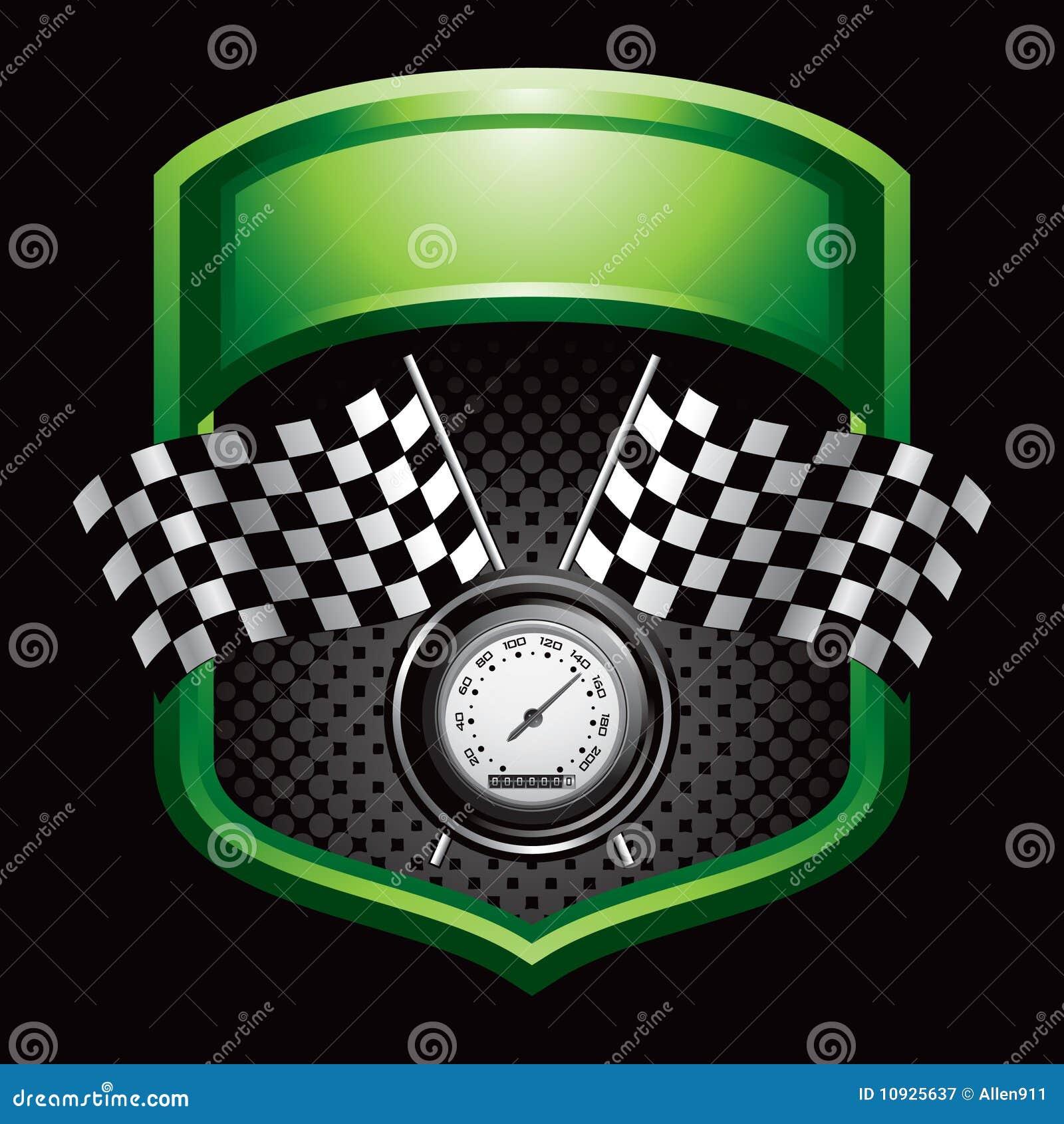 дисплей flags зеленый участвуя в гонке спидометр