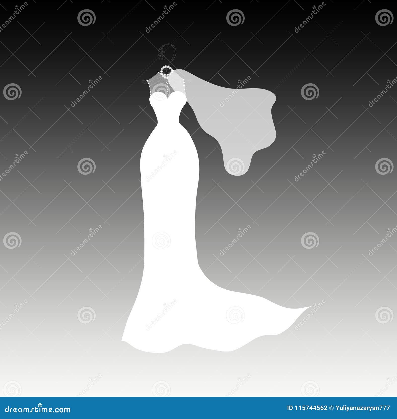 Длинное платье свадьбы на грациозно вешалке