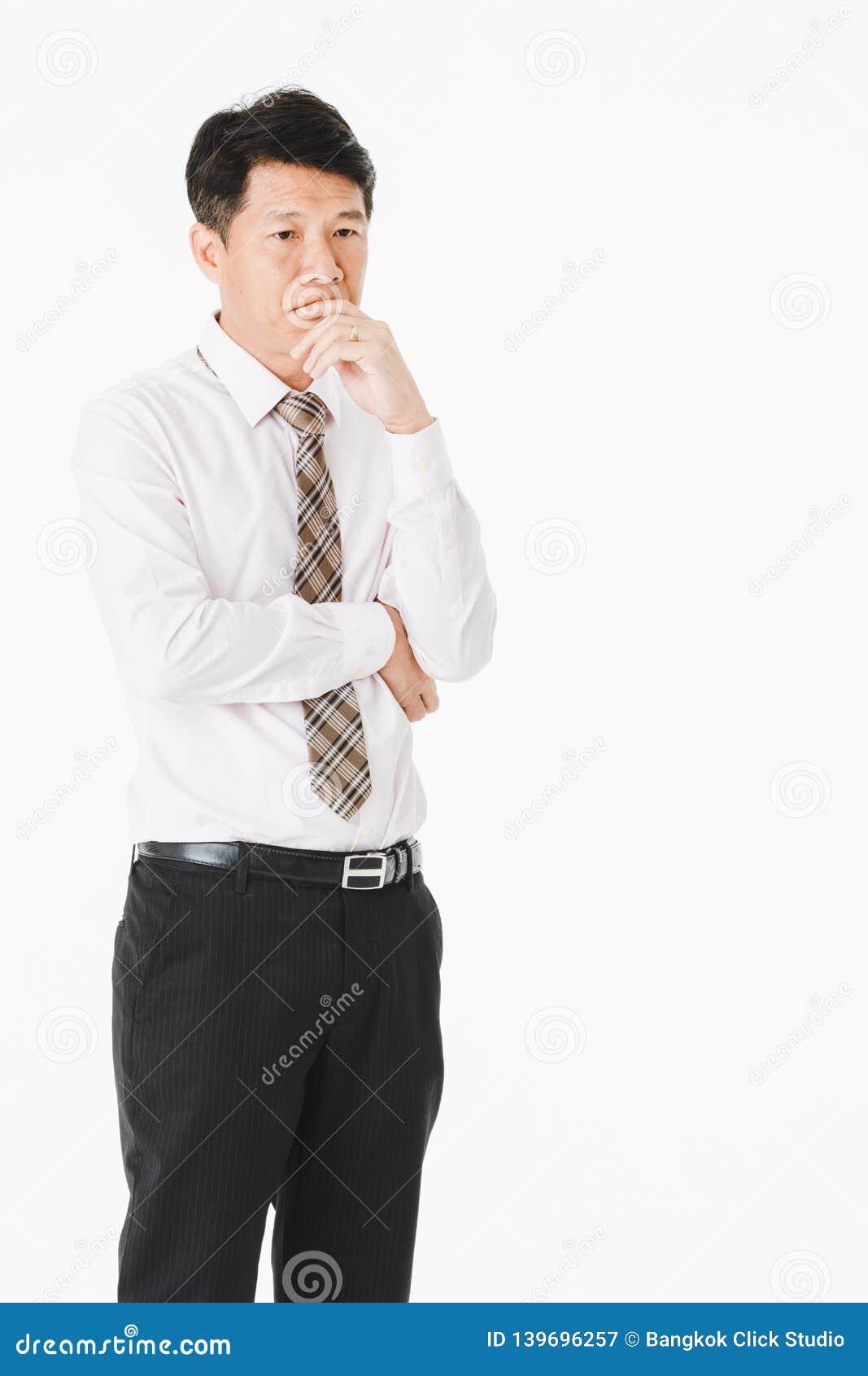 длинной с Полу портрет средний стареть, красивый, азиатский, бизнесмен, в белой рубашке, striped связь пострадайте от острой мигр