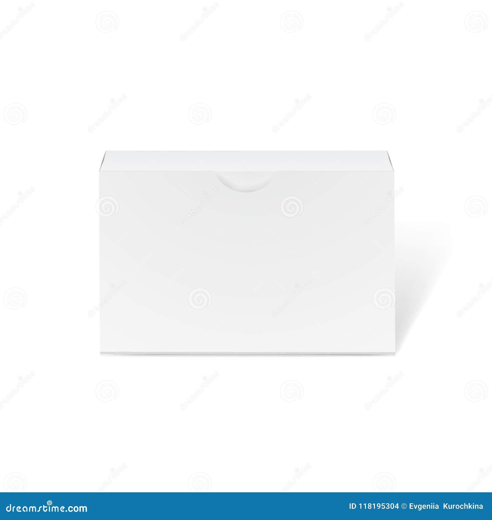 Длинный белый модель-макет картонной коробки - вид спереди Реалистическая картонная коробка, контейнер, упаковывая Насмешка вверх