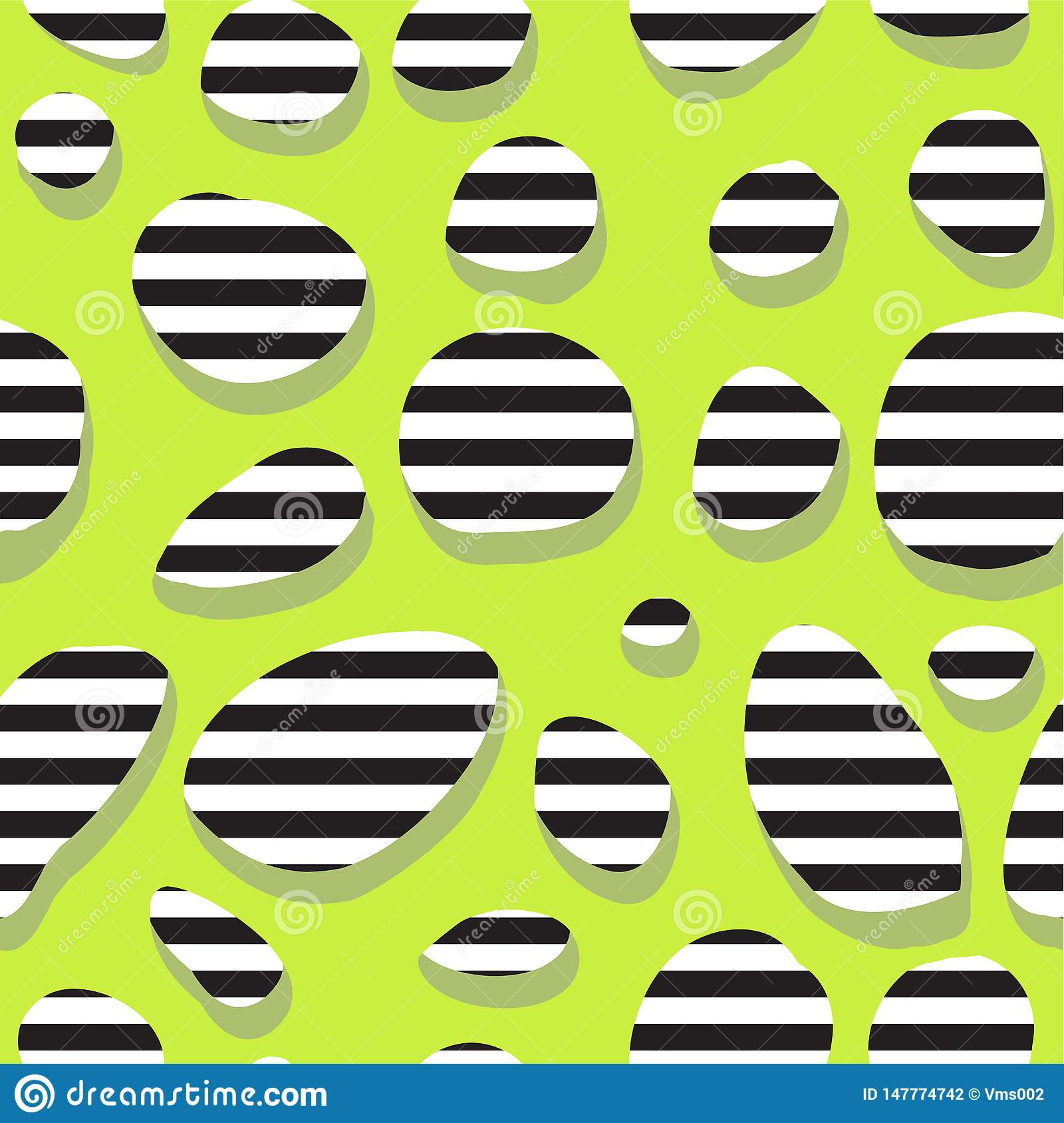 Seamless abstract green pattern with stripes in the holes