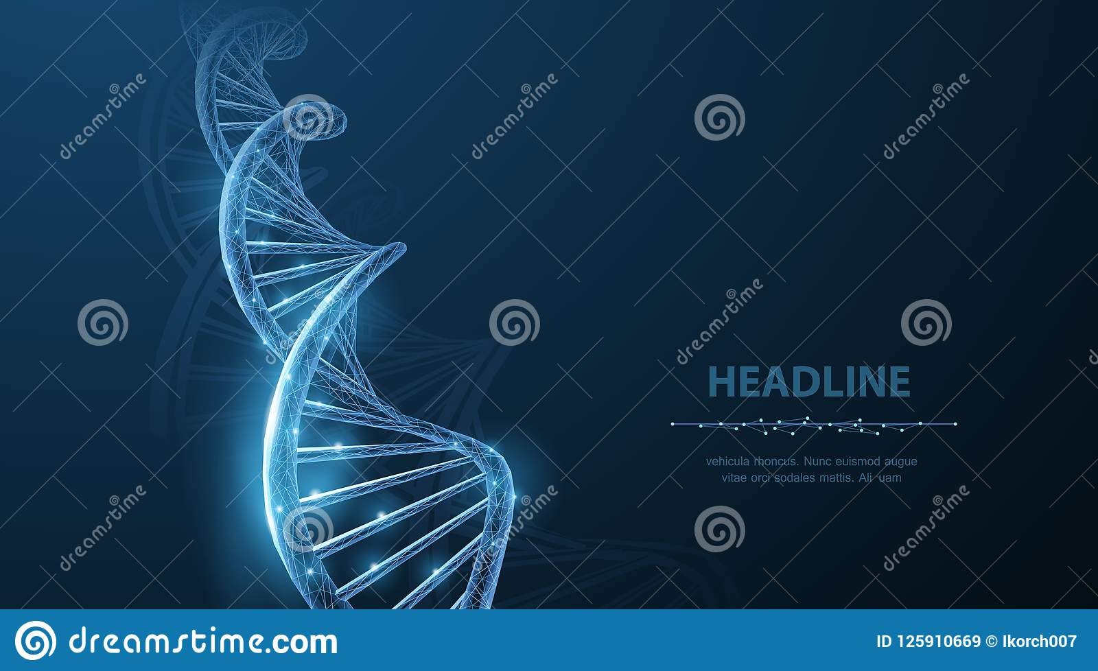 Дна Абстрактная полигональная спираль винтовой линии молекулы дна wireframe 3d на сини