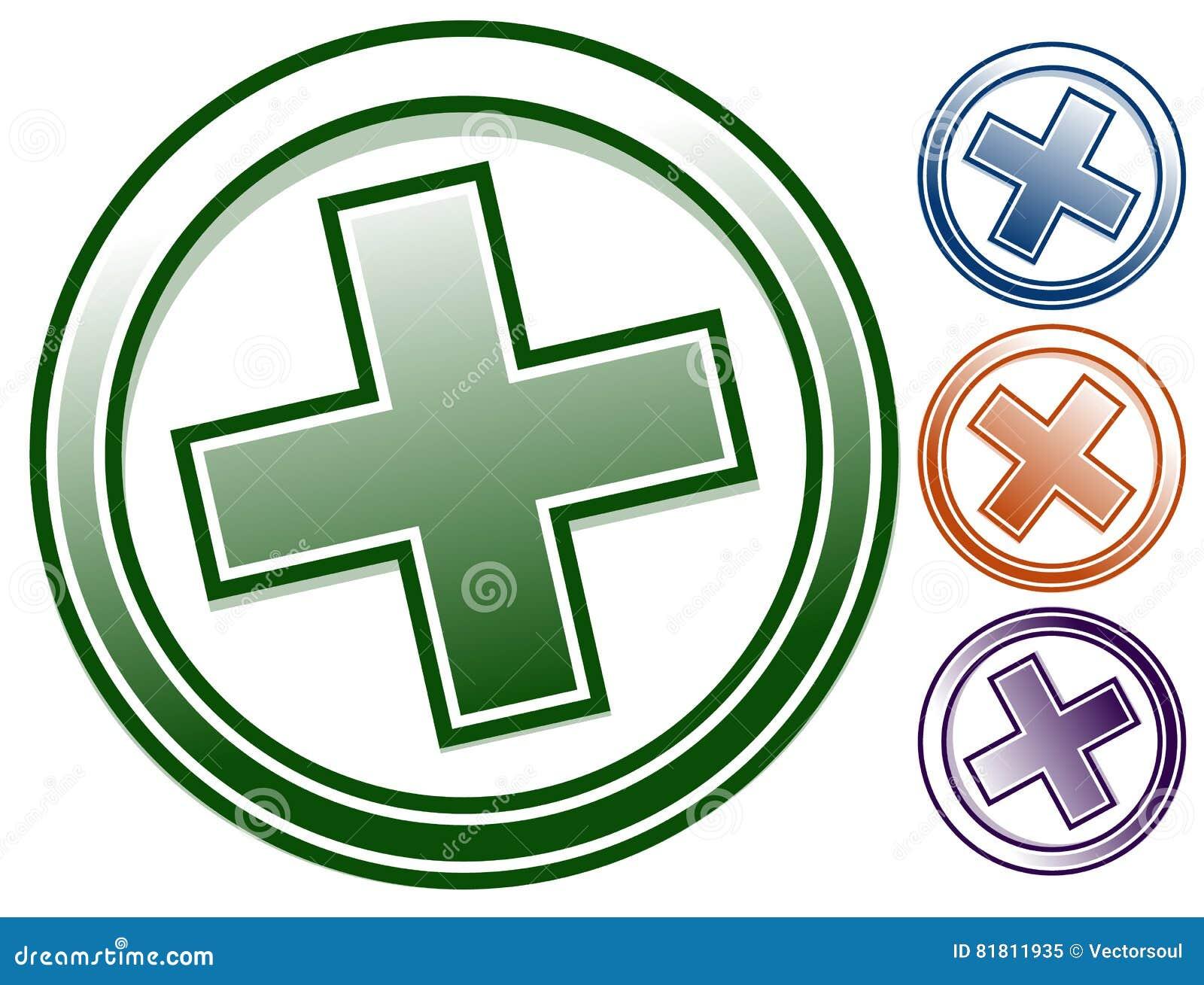 Добавочный значок x в цвете 4 Положительная величина, зажим-искусство x, символ