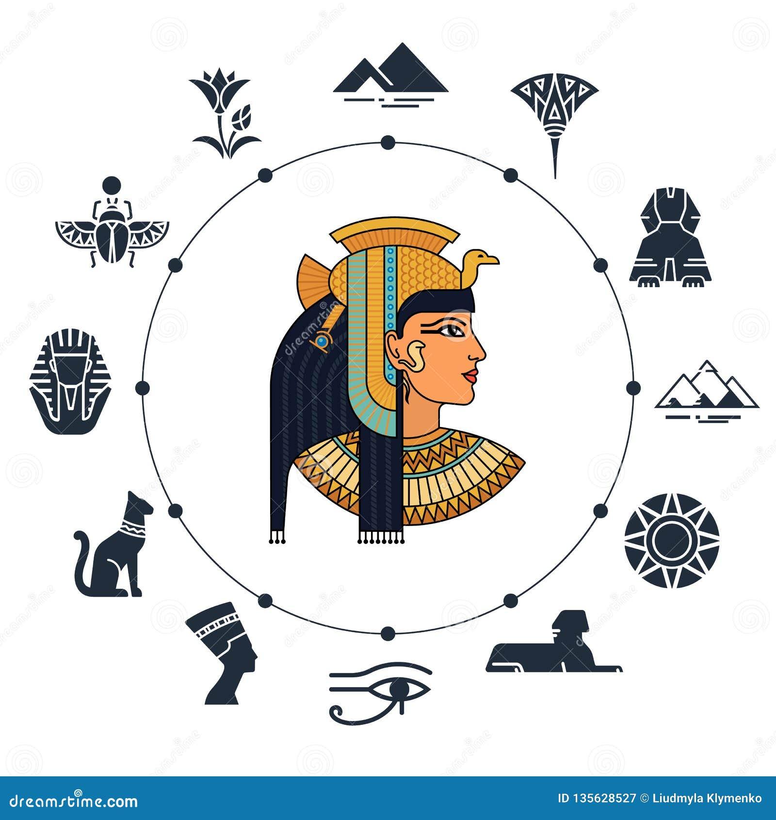Добро пожаловать к Египту символы Египета Туризм и приключение Иллюстрация вектора и набор значка