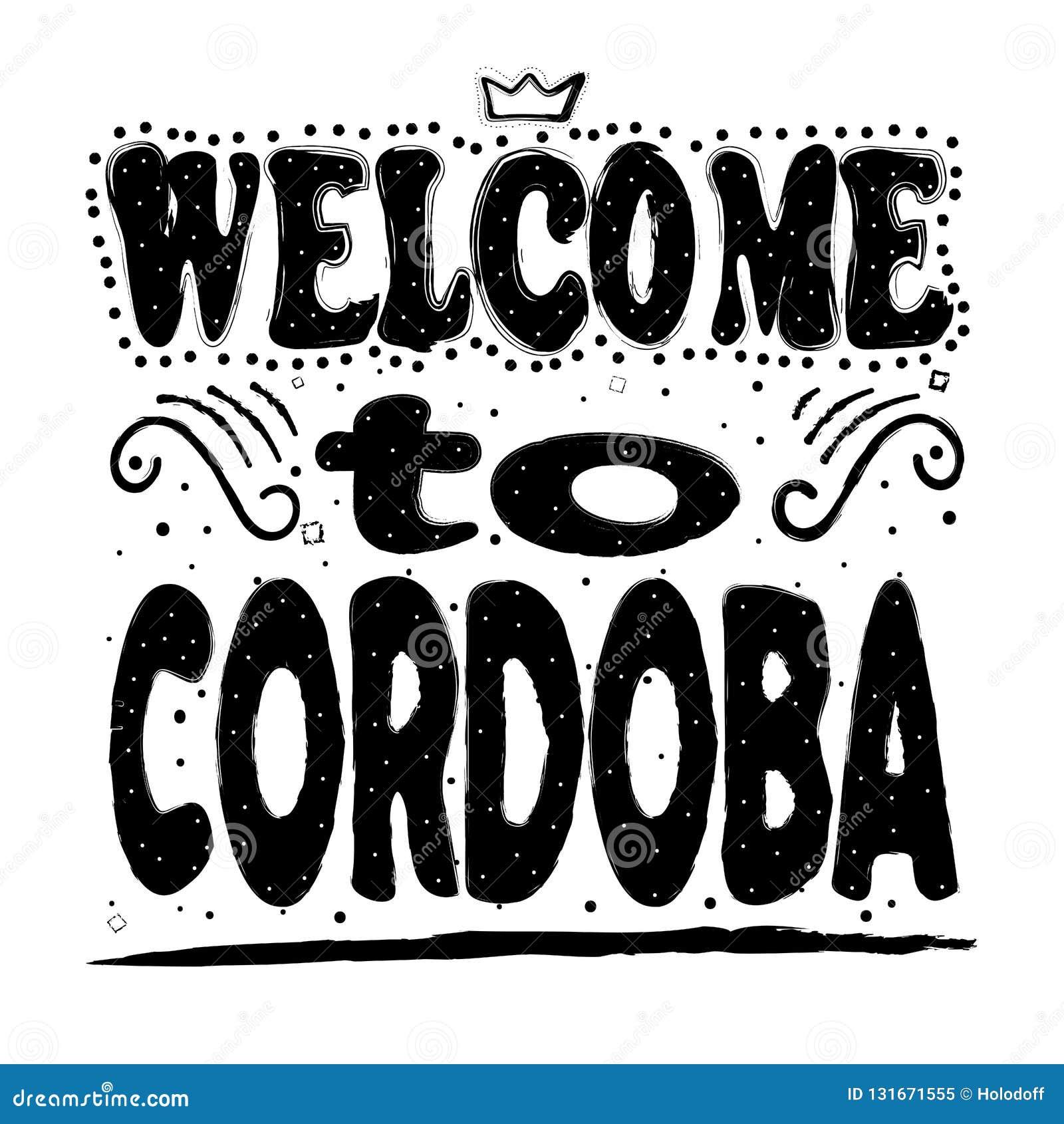 Добро пожаловать к Cordoba Город в Андалусии, южной Испании, и столице провинции rdoba ³ CÃ Чертеж руки, изолят,