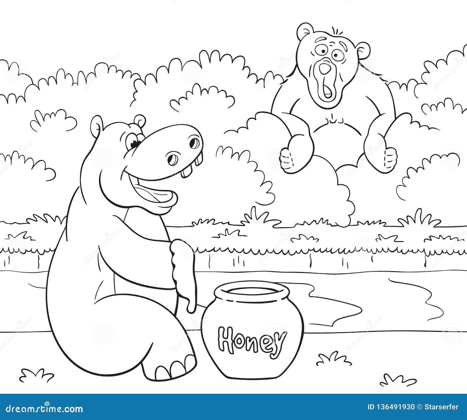 Довольный бегемот с медом и удивленный медведь