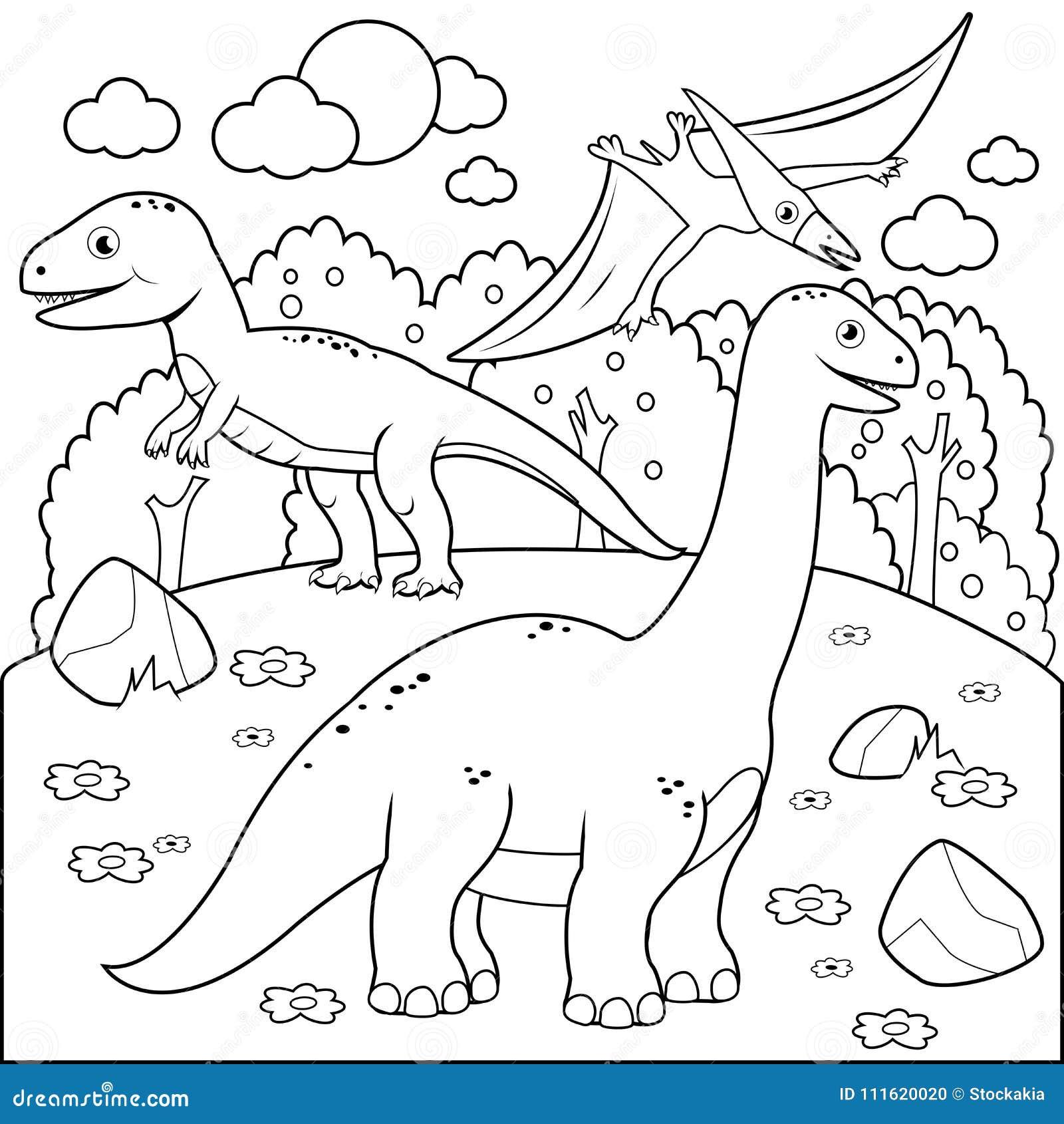 Доисторический ландшафт с динозаврами Черно-белая страница книжка-раскраски