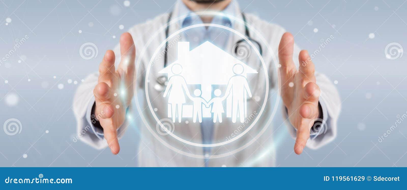Доктор используя цифровой перевод интерфейса 3D заботы семьи