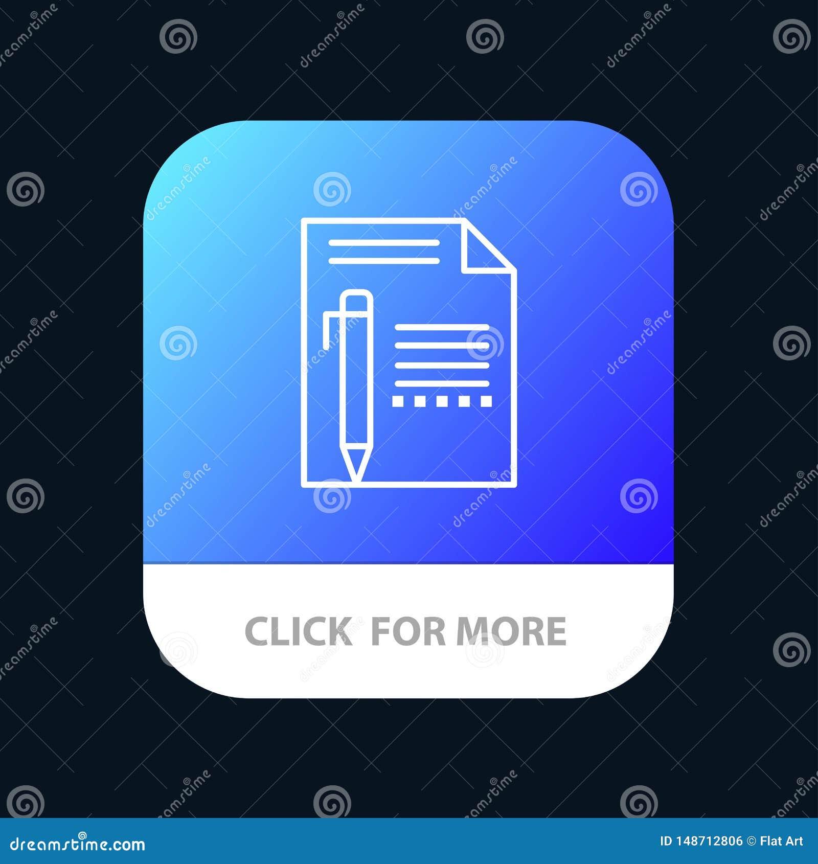 Документируйте, отредактируйте, вызовите, заверните в бумагу, рисуйте, напишите мобильную кнопку приложения Андроид и линия верси