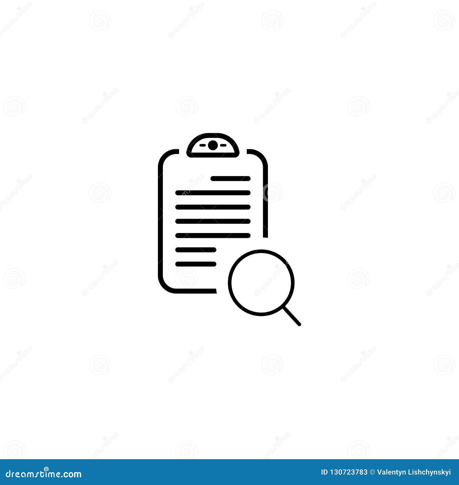 Документ с значком поиска Символ вектора простой