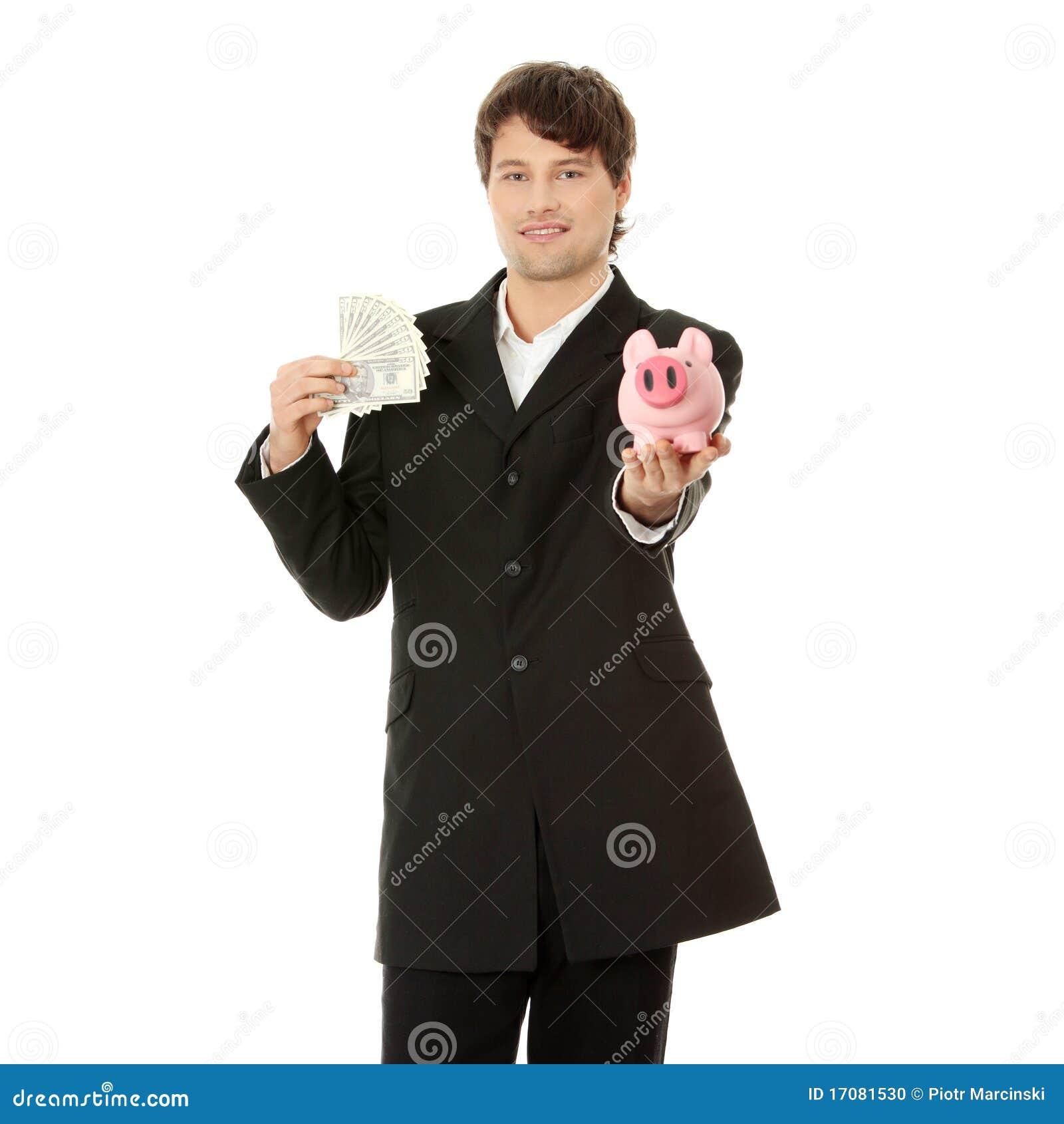 доллары дела банка держа piggy детенышей