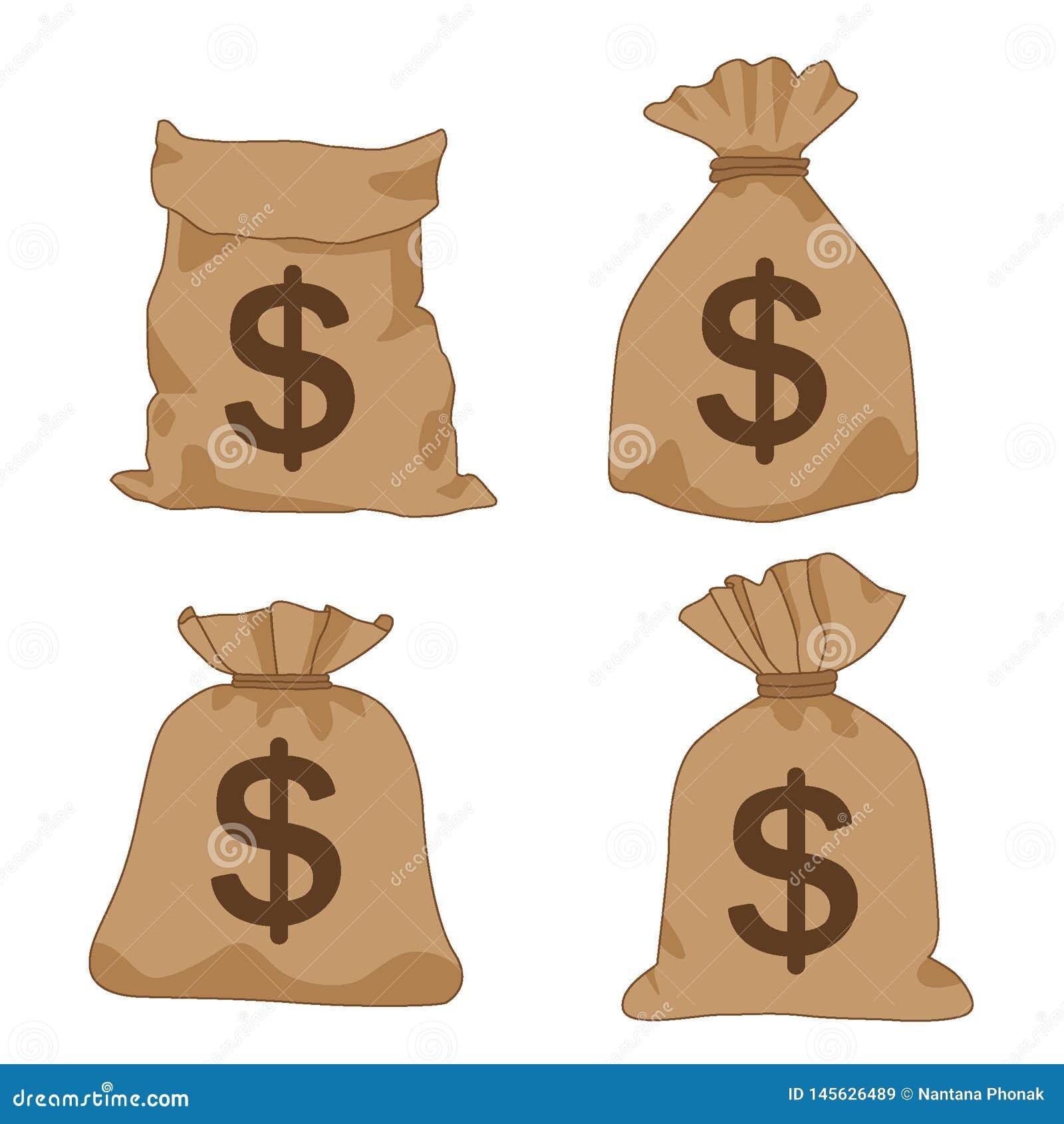 Доллары коричневого цвета сумки денег на белом векторе иллюстрации предпосылки