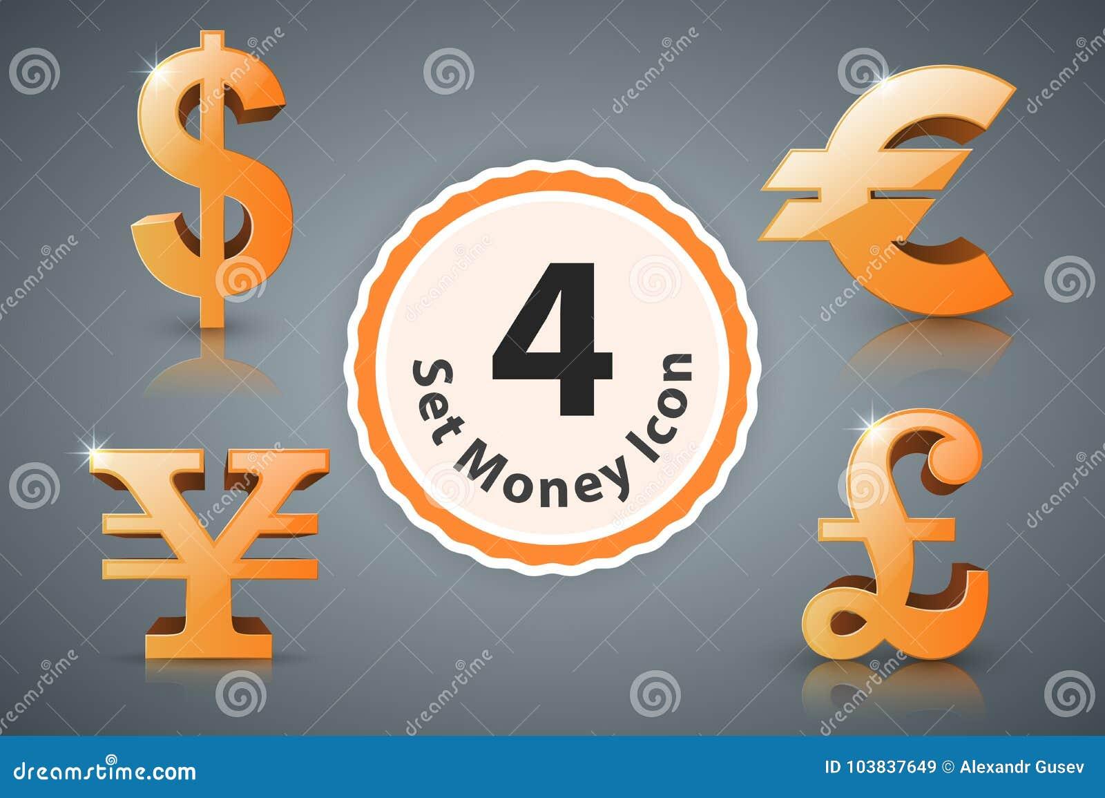 Доллар значка денег, евро, английский фунт, иена