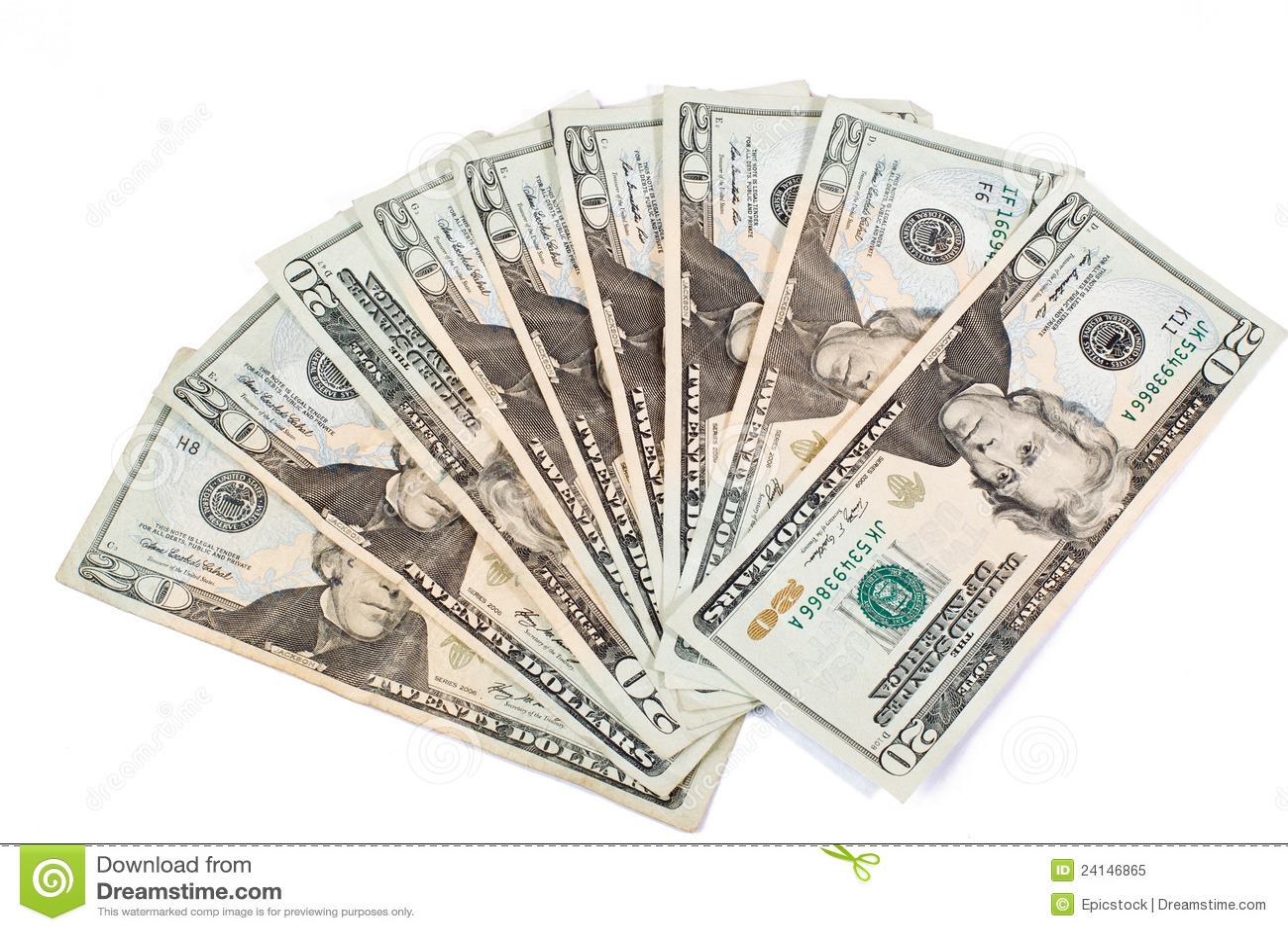 доллар 20 счетов