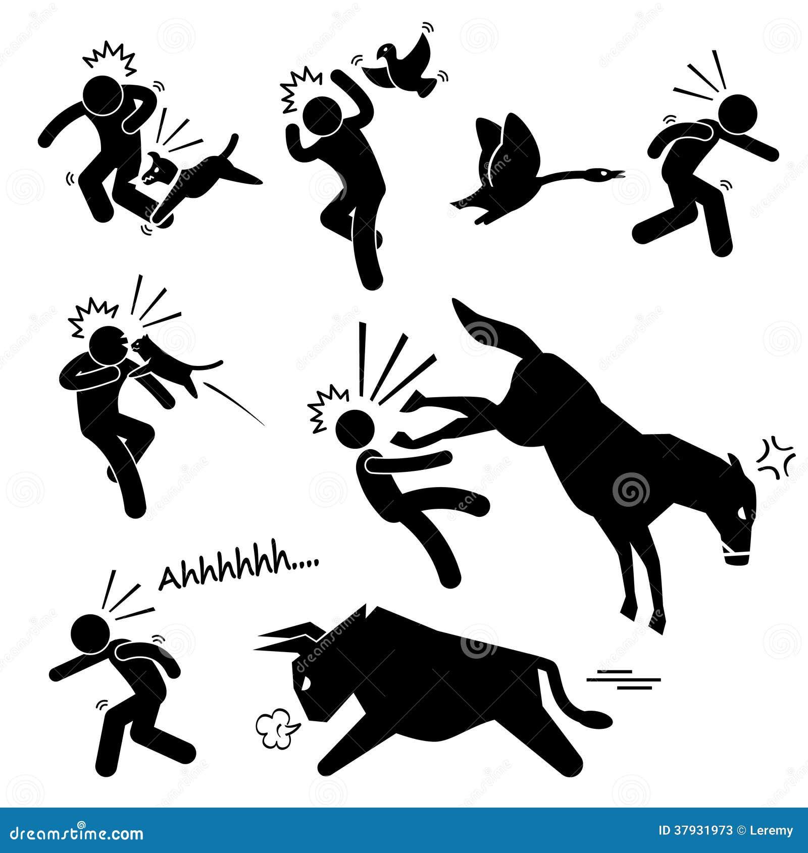 Домашнее животное атакуя человеческий значок пиктограммы