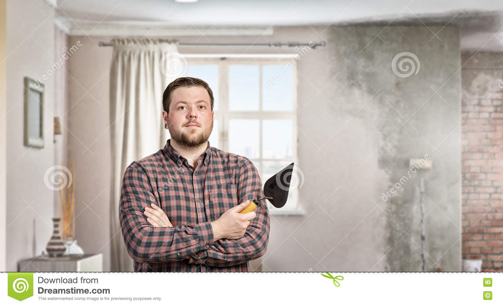 Download Домашние реновация и улучшение Стоковое Фото - изображение насчитывающей замазка, рука: 72283540