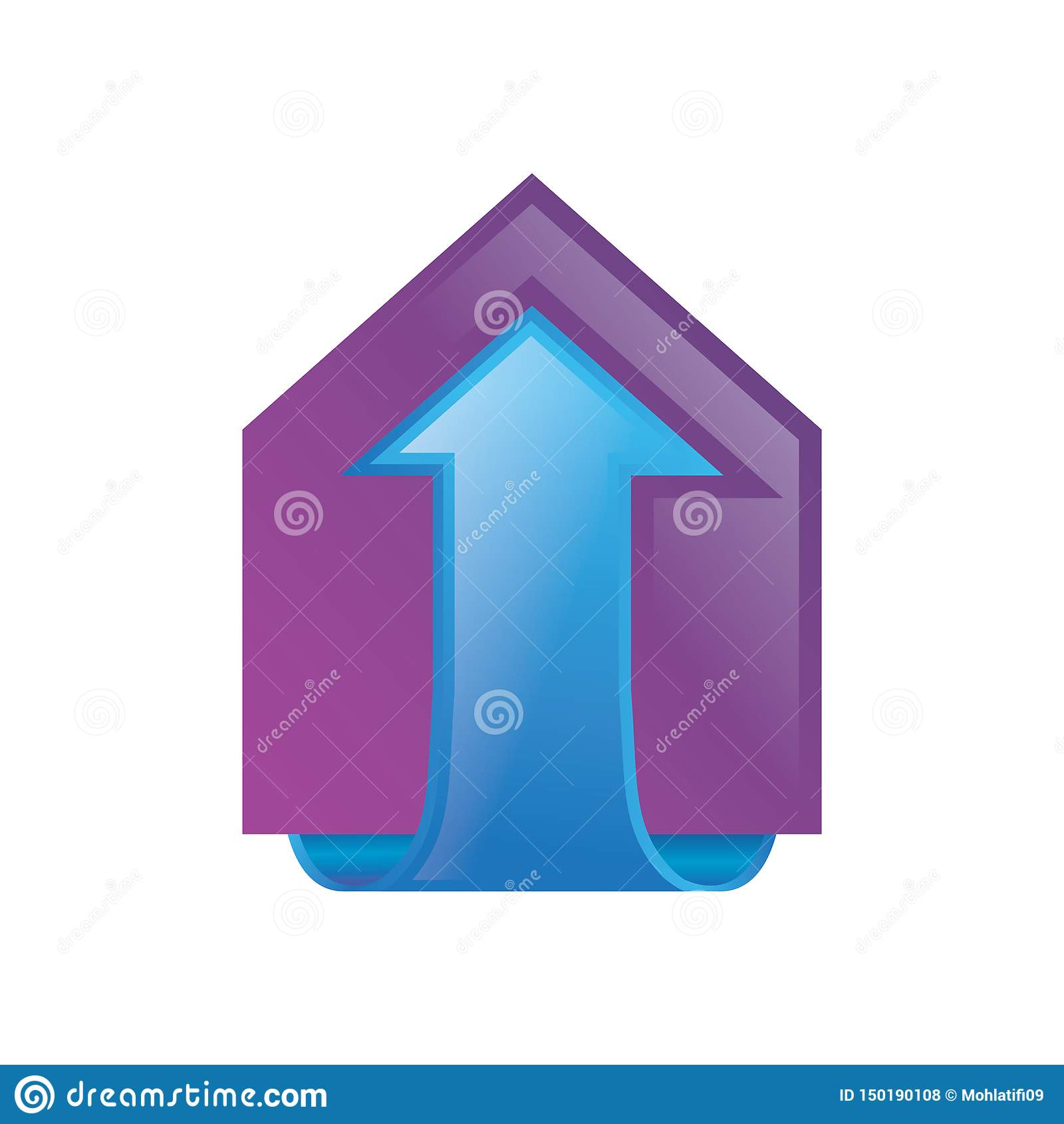 Домашний вектор логотипа здания 3D стрелки