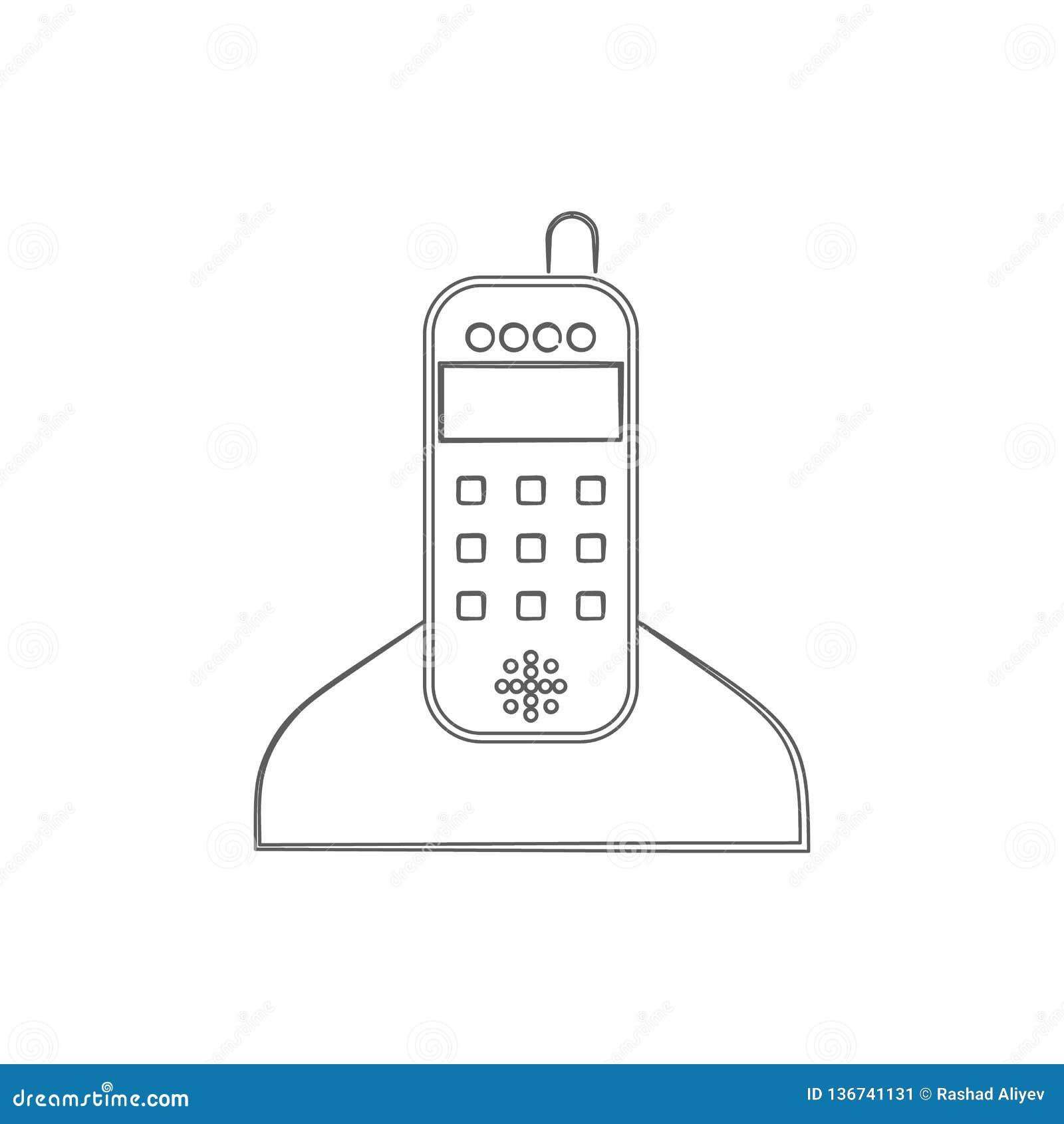домашний значок логотипа телефона радио Элемент безопасности кибер для мобильных концепции и значка приложений сети Тонкая линия