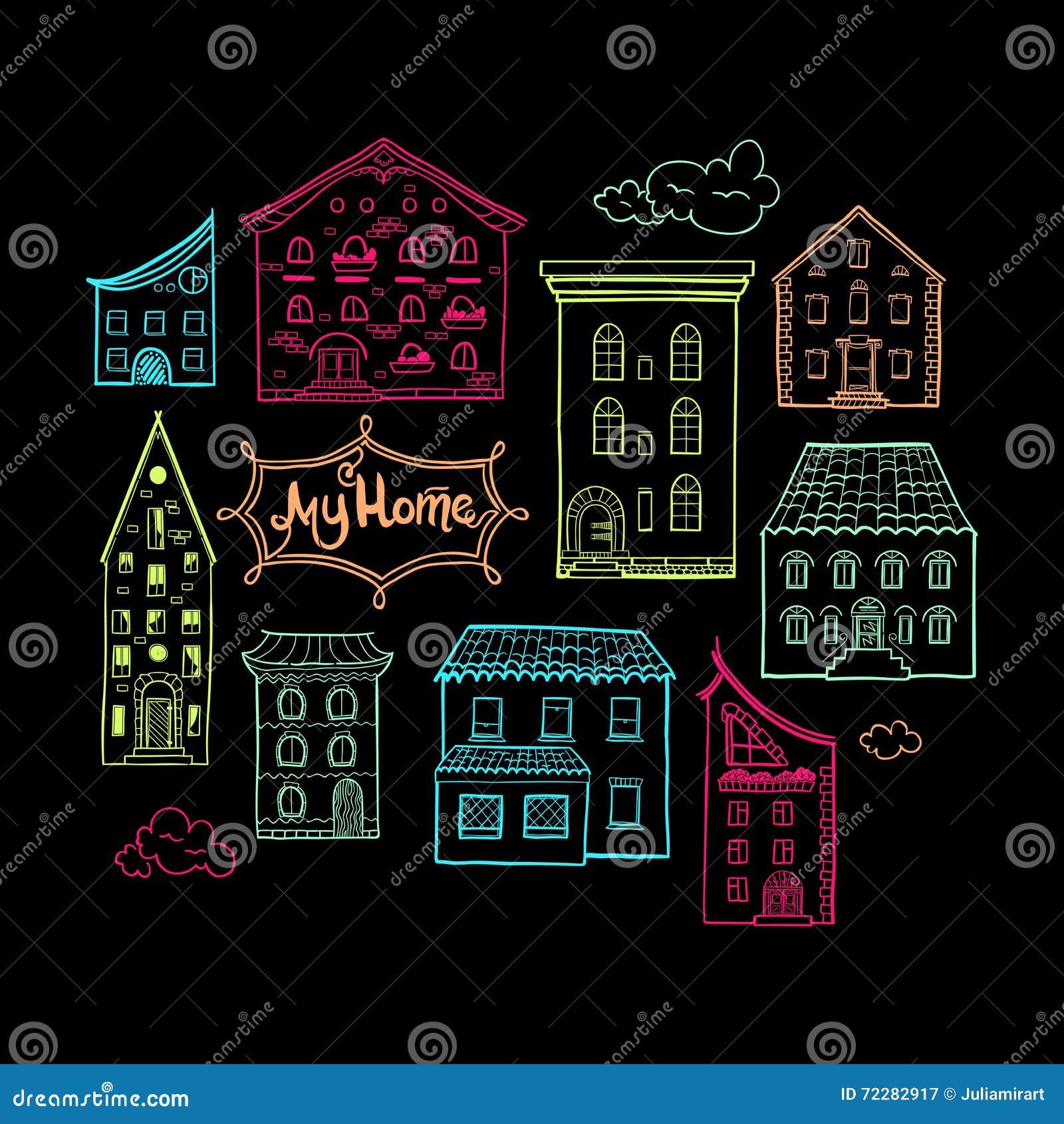 Download Дома и темнота цвета облаков Иллюстрация вектора - иллюстрации насчитывающей шарж, линия: 72282917