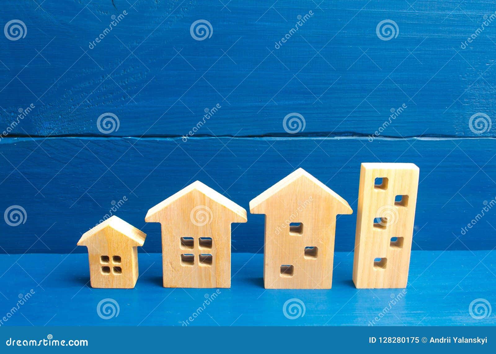 Дома стоят в ряд от простого к большому Концепция урбанизации и плотности населения Рост городов, конструкция
