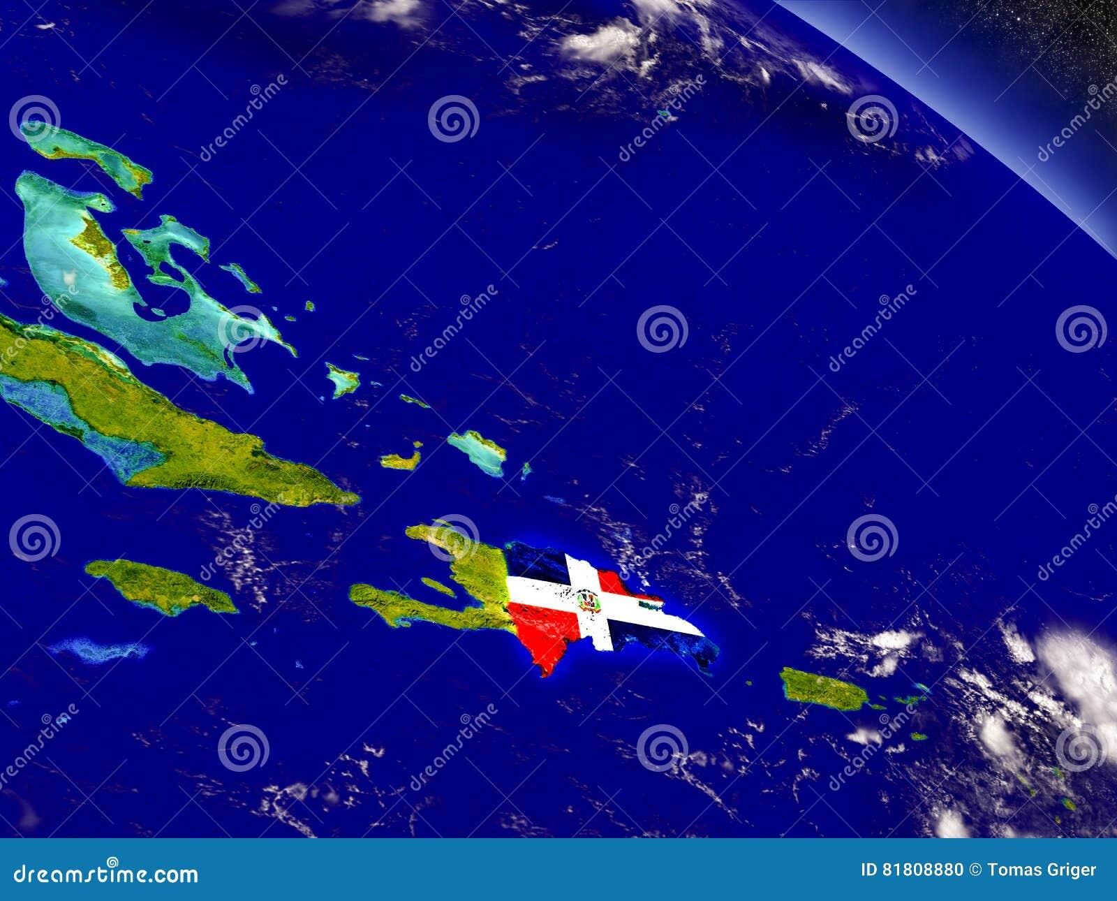 Доминиканская Республика с врезанным флагом на земле