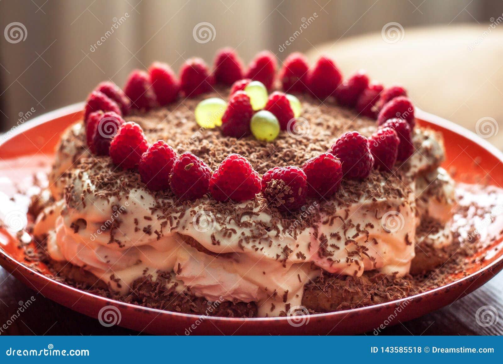 Домодельный торт с полениками и шоколадом