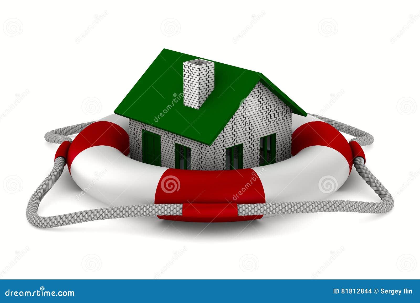 Дом в lifebuoy на белой предпосылке