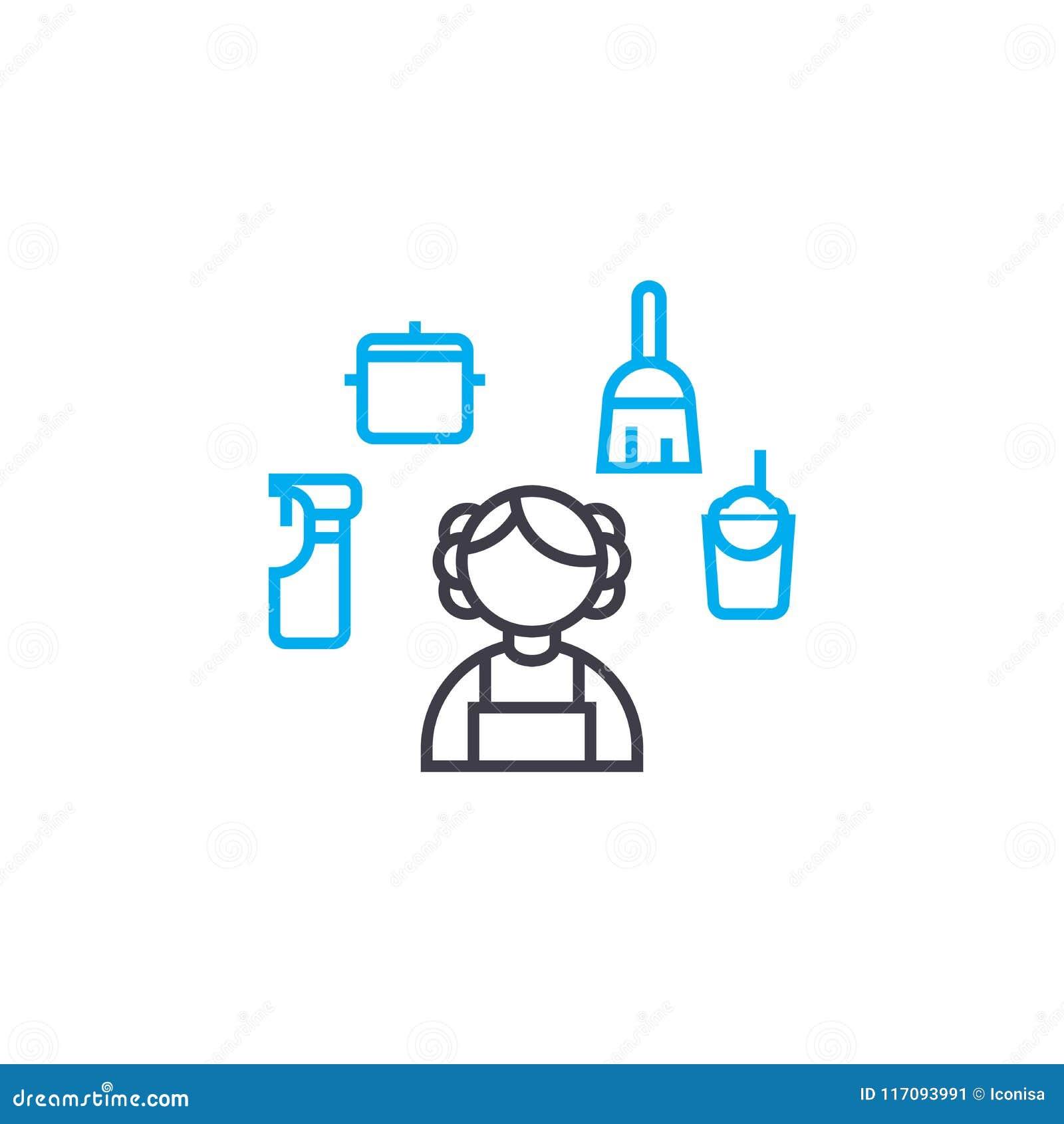 Дом очищая линейную концепцию значка Расквартируйте линию знак чистки вектора, символ, иллюстрацию