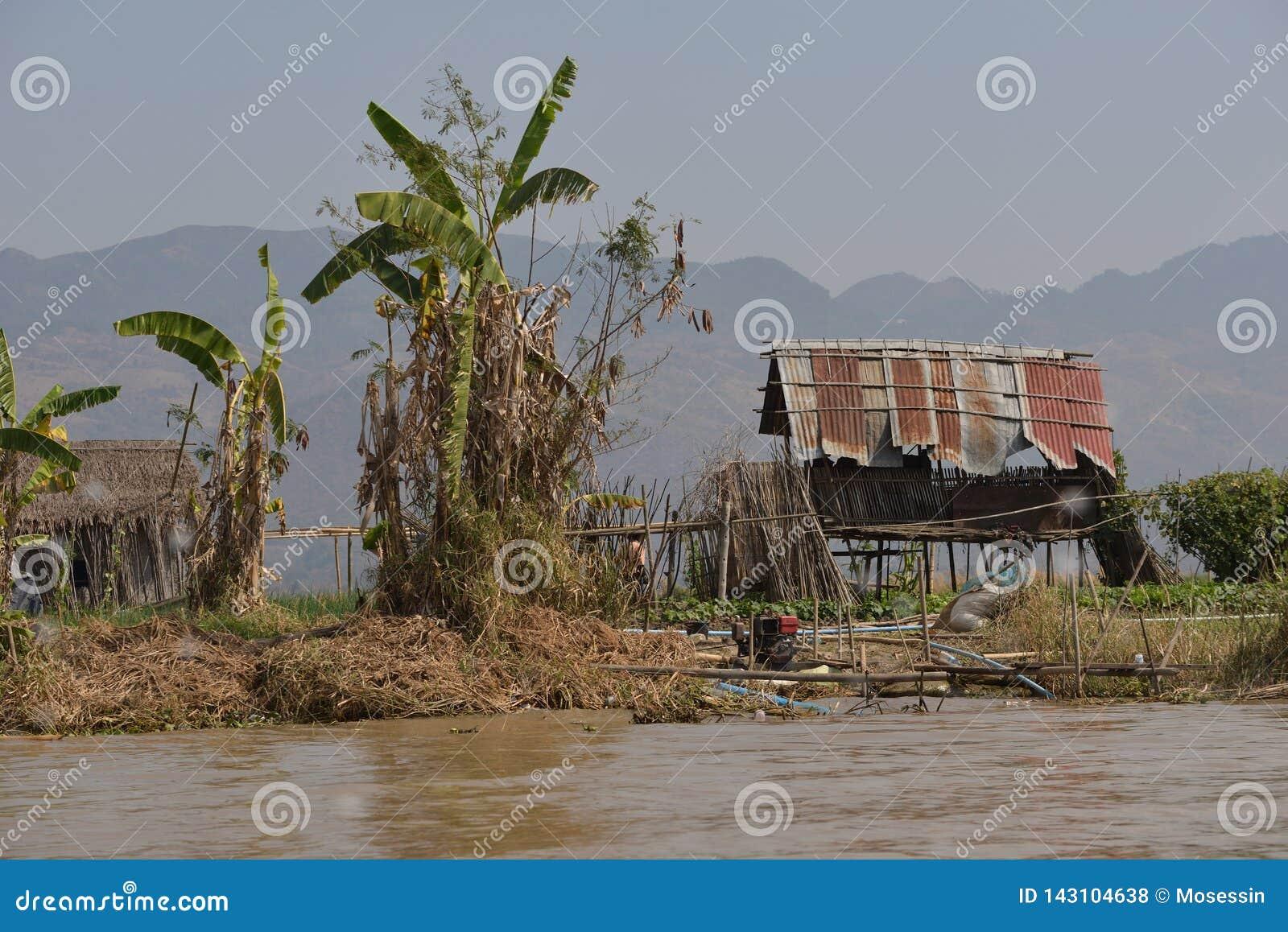 Дом пальмы озера Мьянм Inle плавая