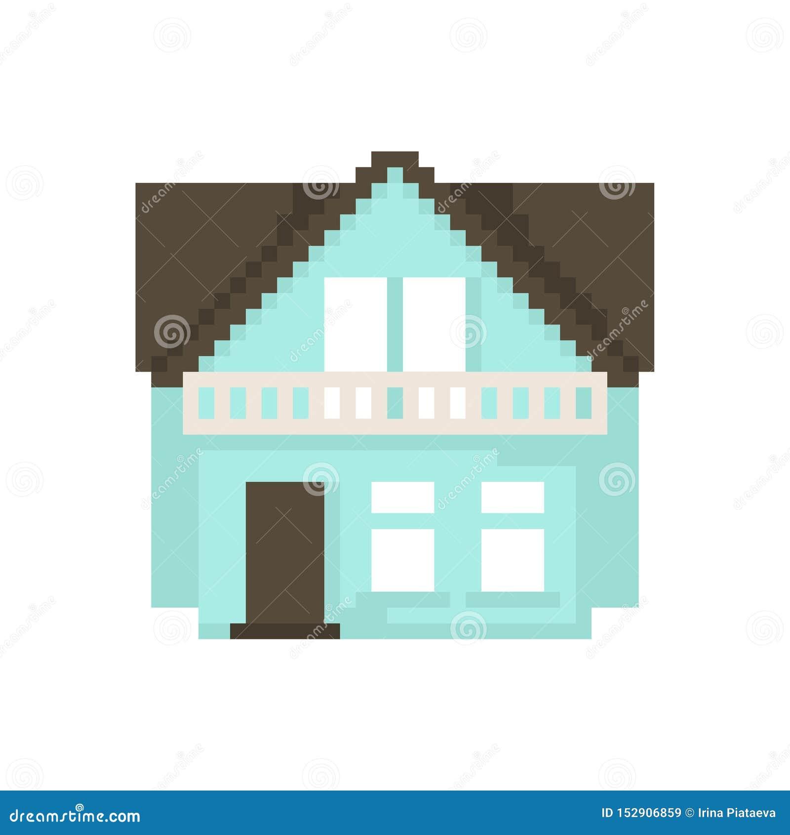 Дом пиксела изолированный на белой предпосылке Графики для игр бит 8 r