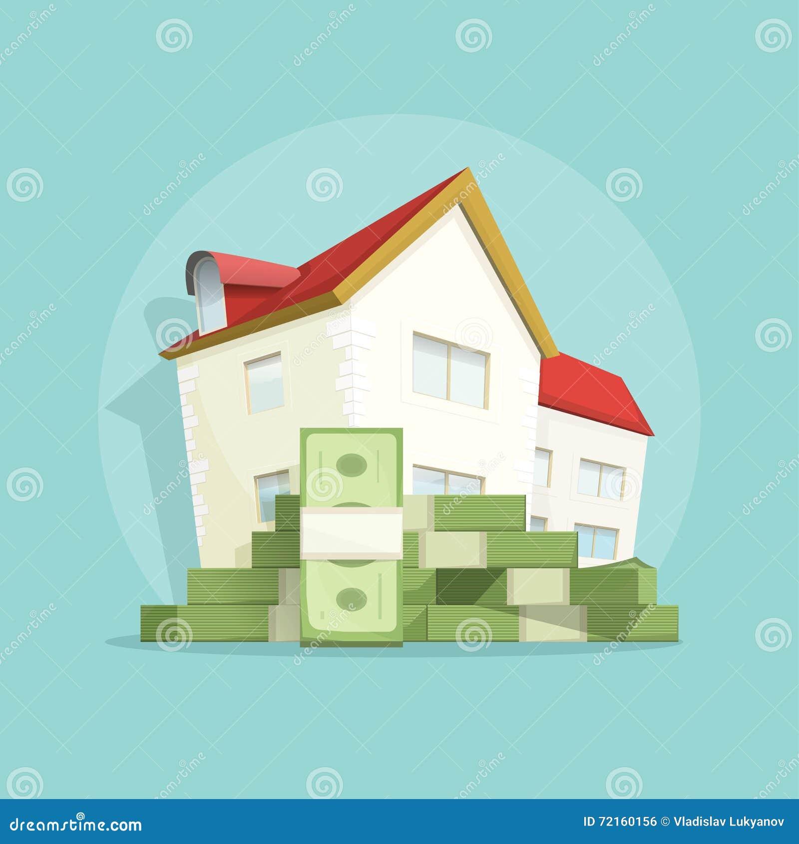 Дом с деньгами кучи, домашним символом расхода, ссудой под недвижимость концепции