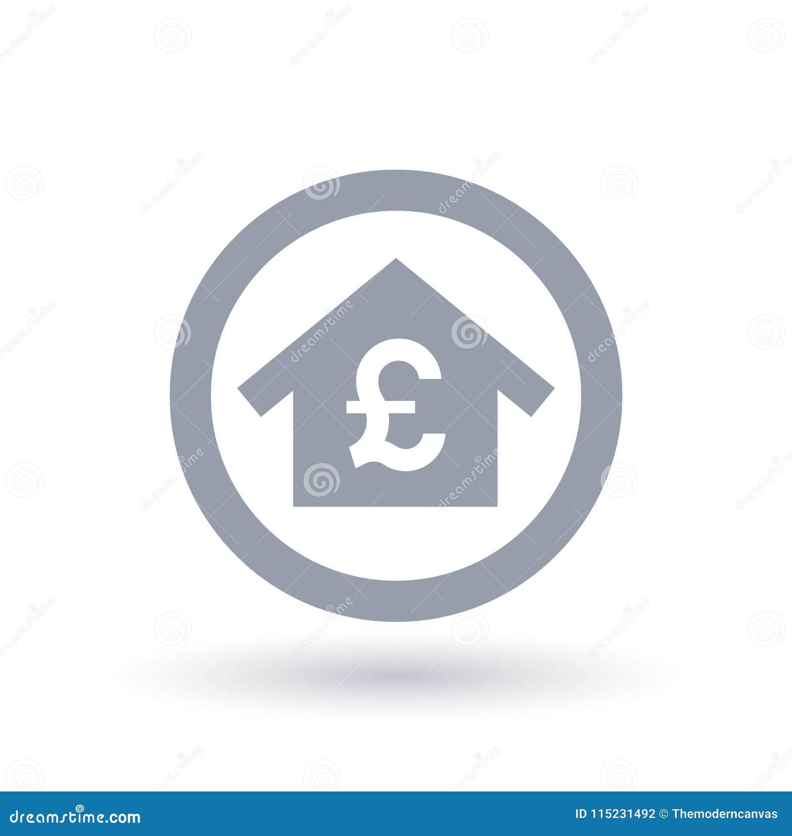 Дом с символом английского фунта - значком недвижимости Британии