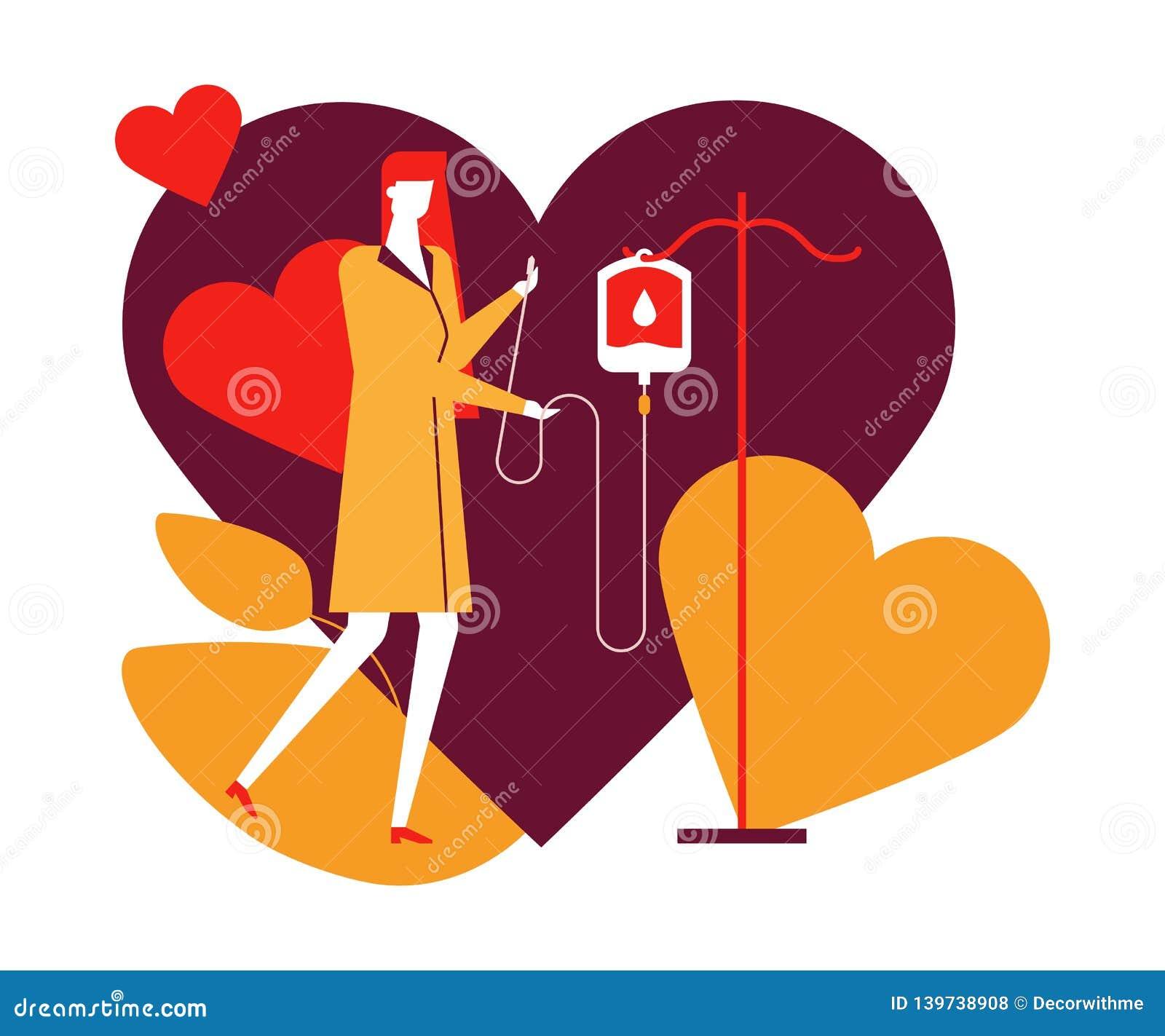 Донорство крови - красочная плоская иллюстрация стиля дизайна