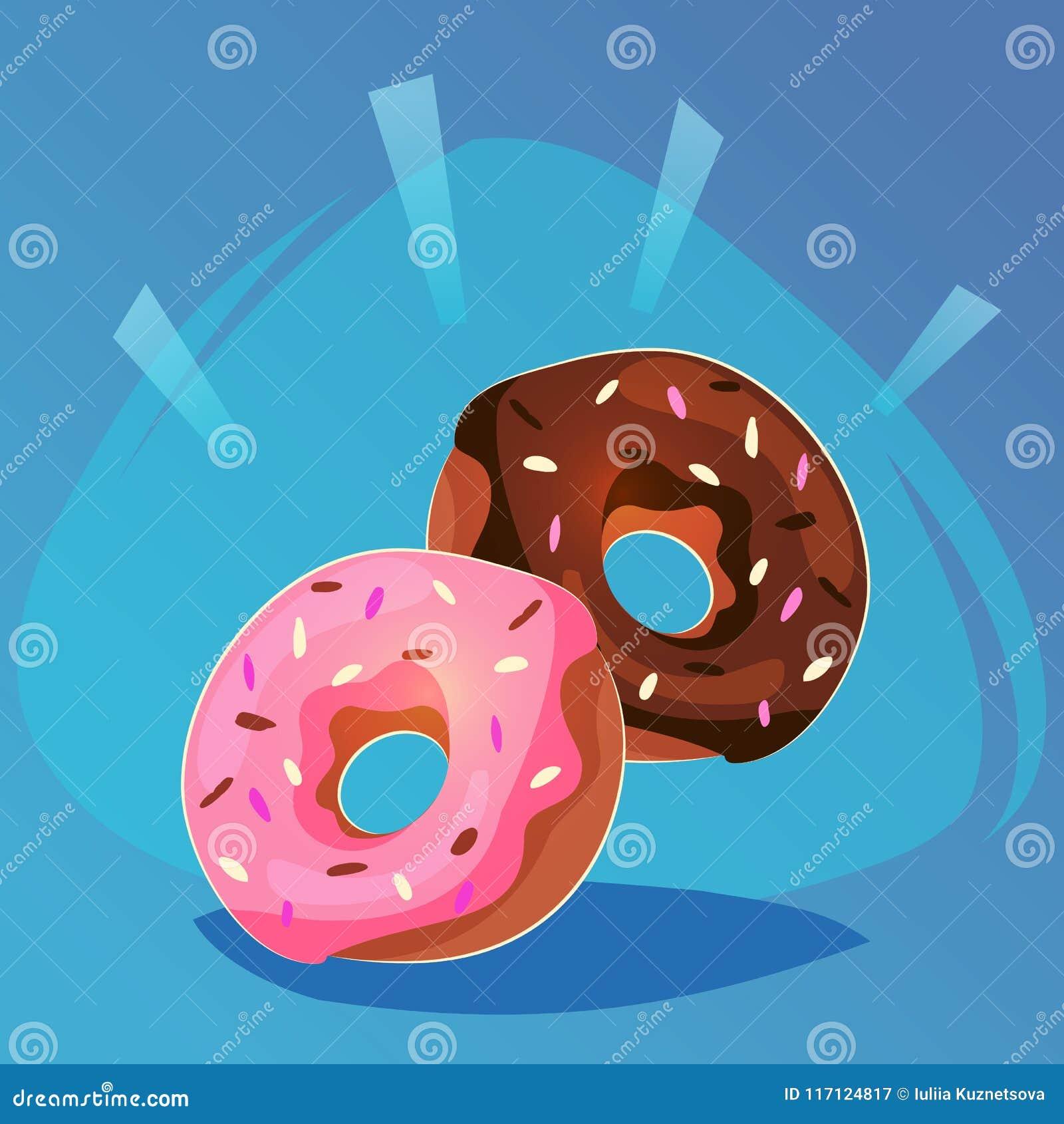 Донут с значком игры еды поливы пинка и шоколада сладостным, еда шаржа или дизайн вебсайта, передвижная иллюстрация вектора app