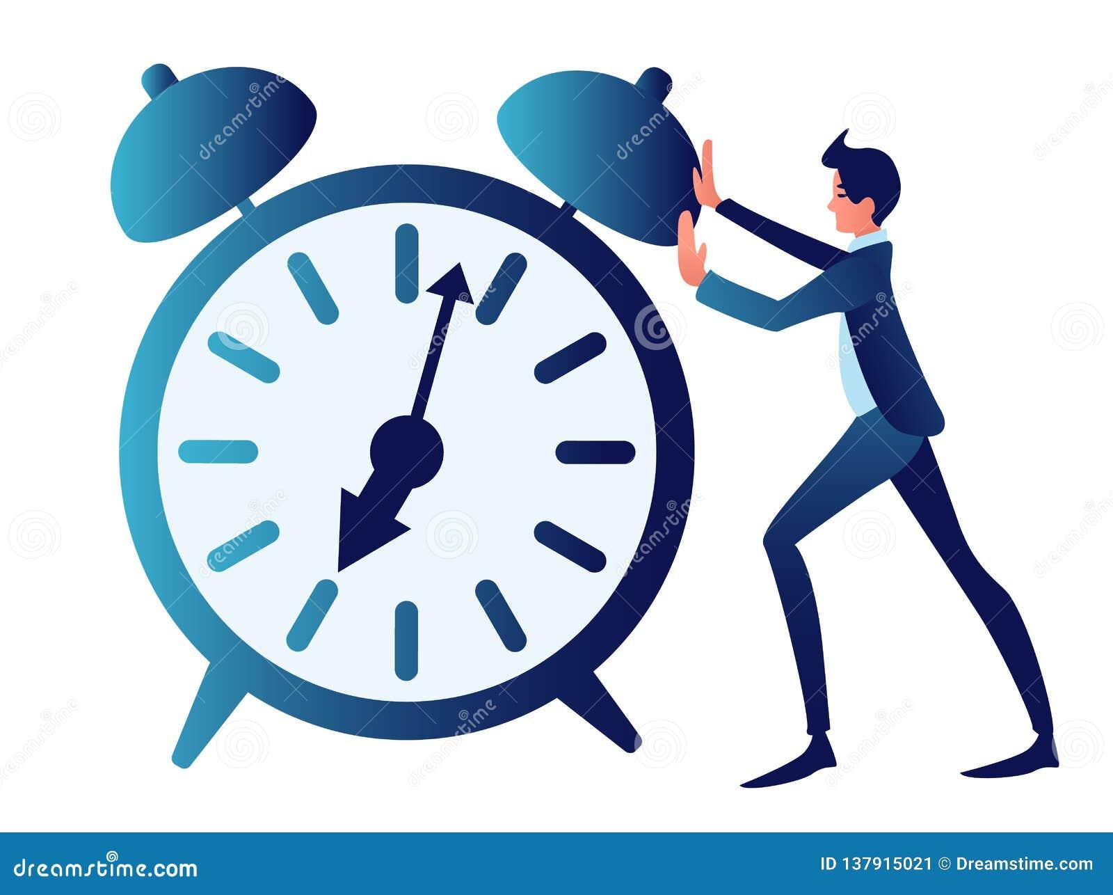 Дополнительное время, неоднозначное, контроль времени Абстрактная концепция, бизнесмен нажимает часы В минималистичном стиле