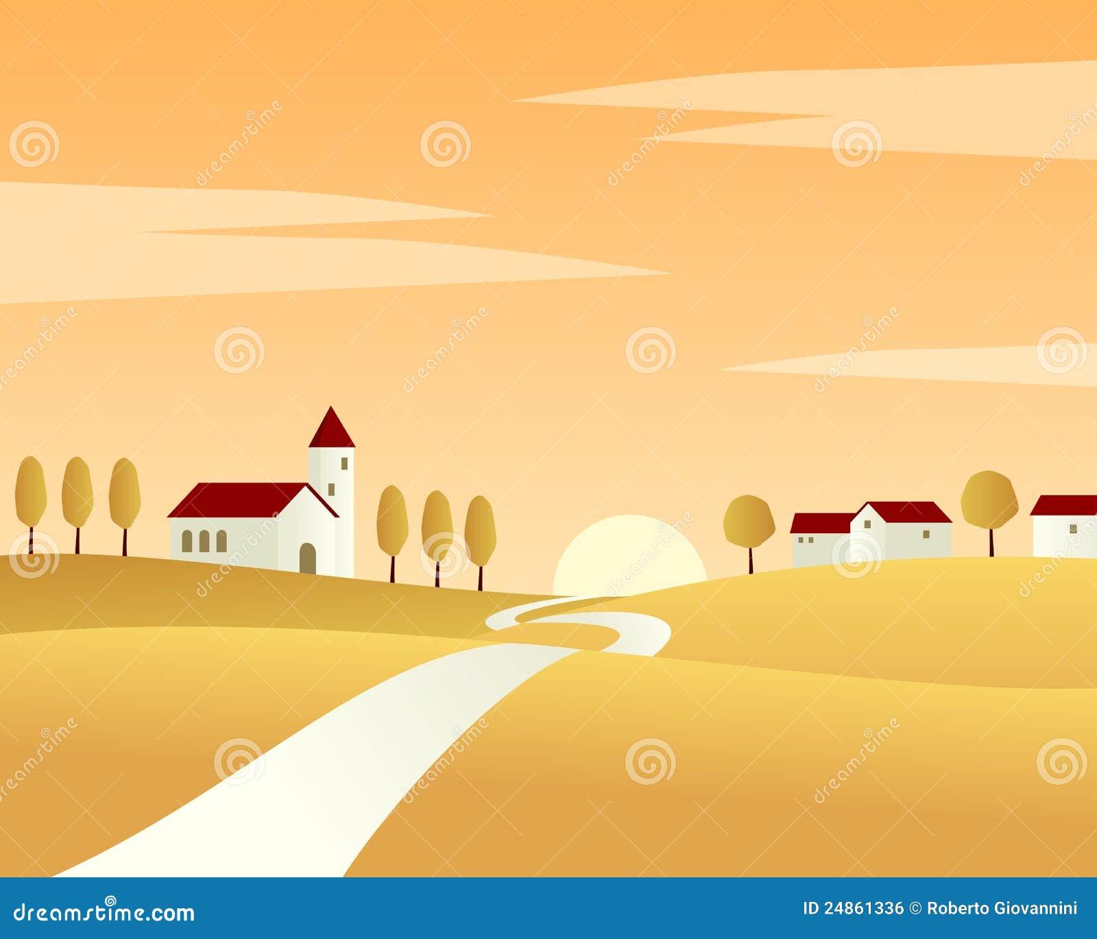 дорога ландшафта страны осени