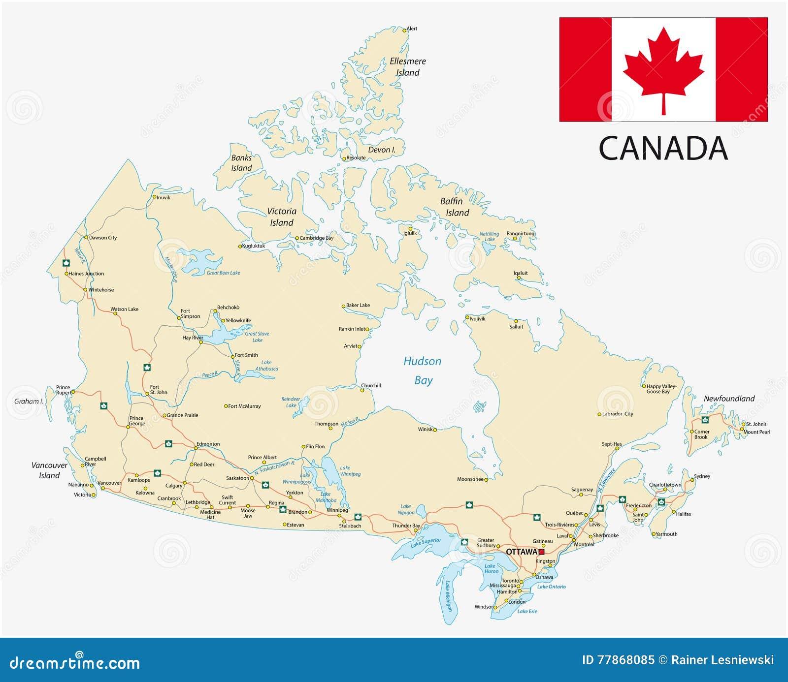 Дорожная карта Канады с флагом