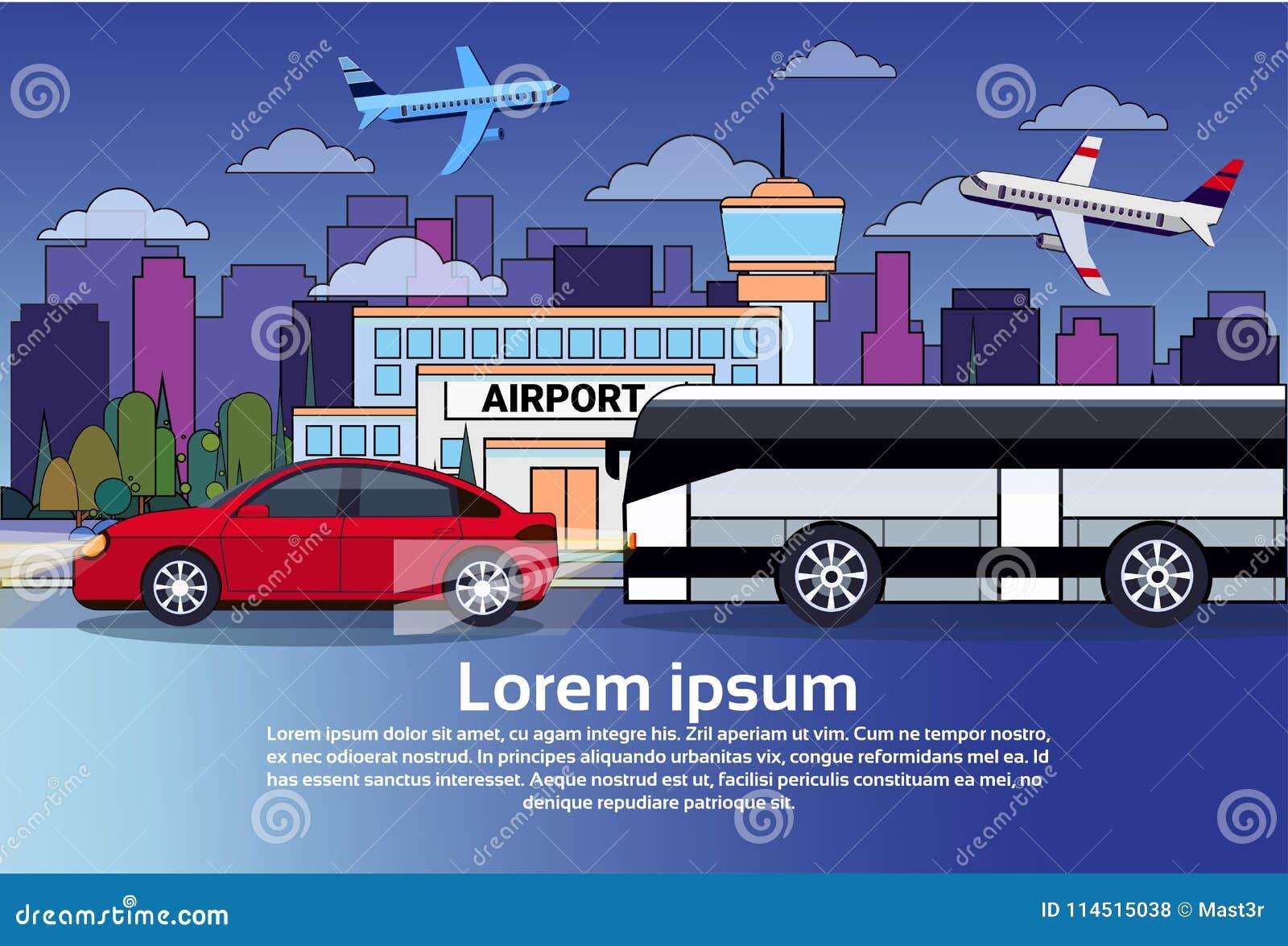 Дорожное движение ночи с шиной и автомобилем над зданиями города и самолетами в темном небе