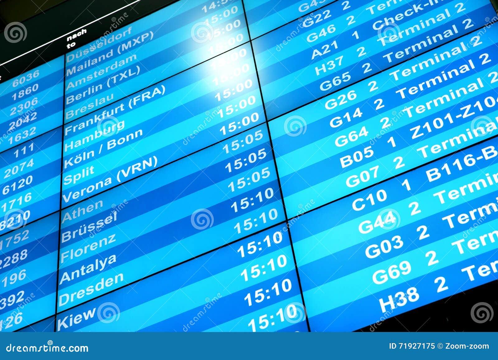 Доска данным по полета