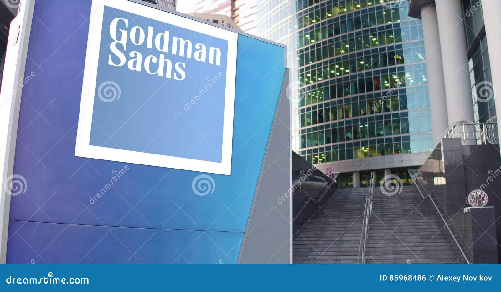 Доска с группой Goldman Sachs, Inc signage улицы логос Современные небоскреб центра офиса и предпосылка лестниц
