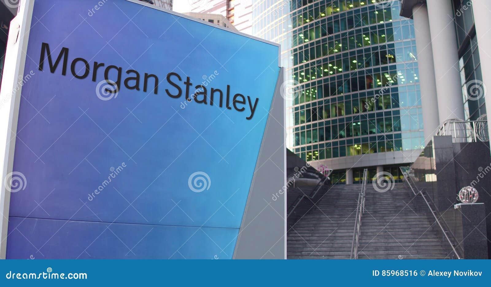 Доска signage улицы с Morgan Stanley Inc логос Современные небоскреб центра офиса и предпосылка лестниц Редакционное 3D