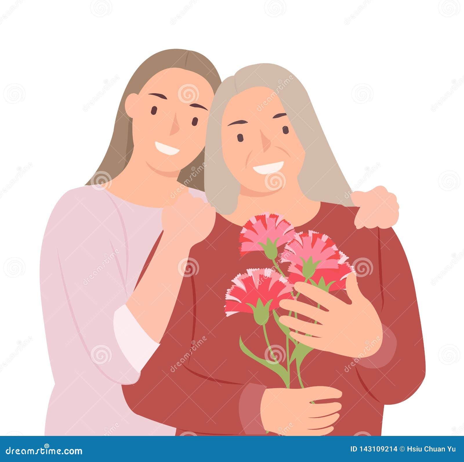Дочь и мать дня матерей дизайна характера людей мультфильма счастливые молодые с цветками гвоздики в руке