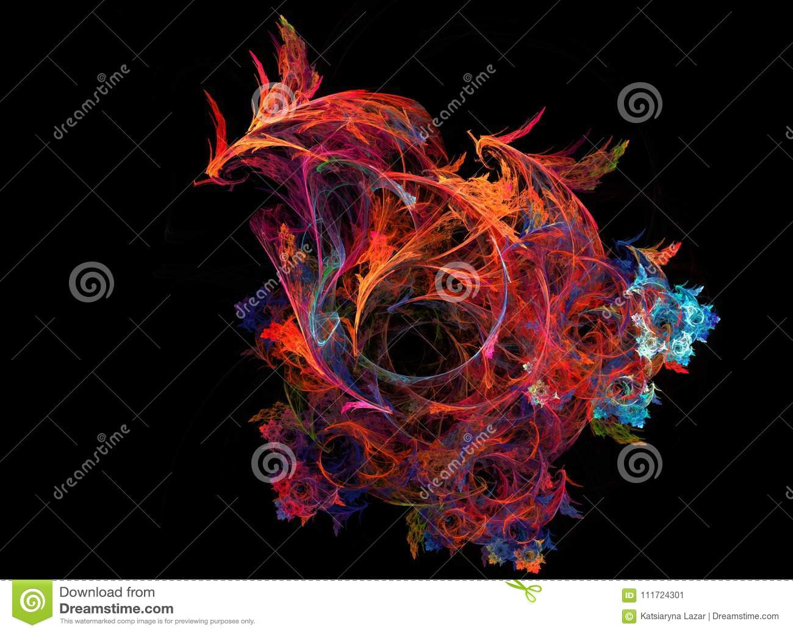Дракон птицы Феникса огня машинной графики Дым музыки искусства цифров Предпосылка фрактали графическая красочная