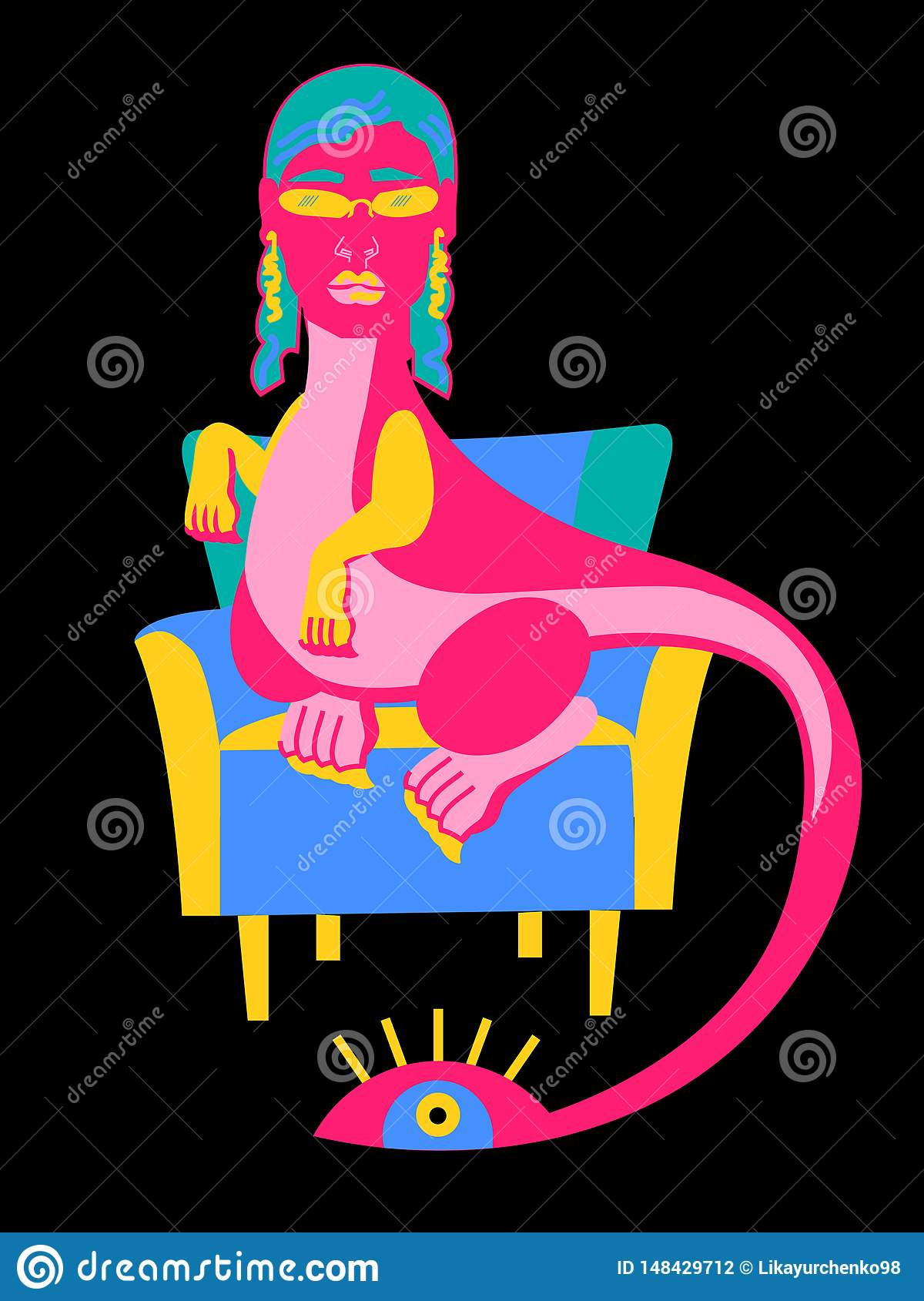 Pink dragon in the chair in the chair
