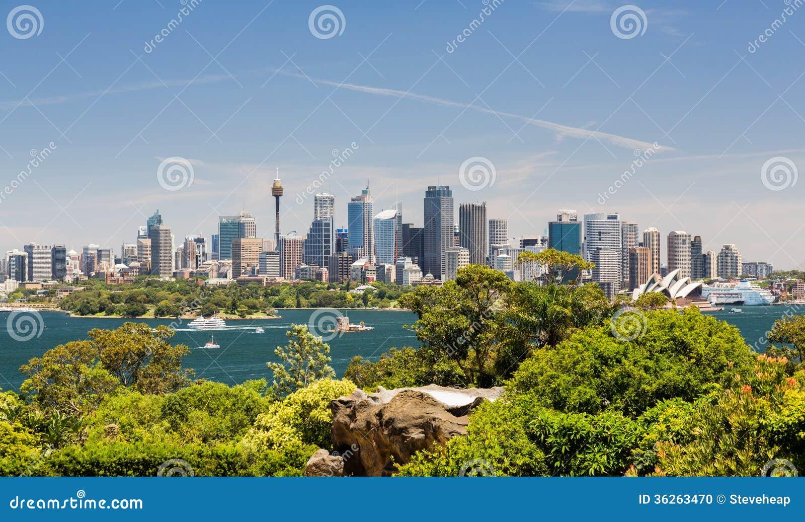 Драматическая панорамная гавань Сиднея фото