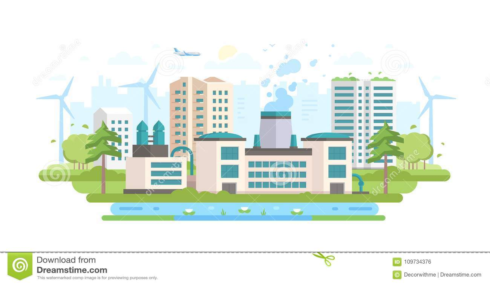 дружественная к Эко индустрия - современная плоская иллюстрация вектора стиля дизайна