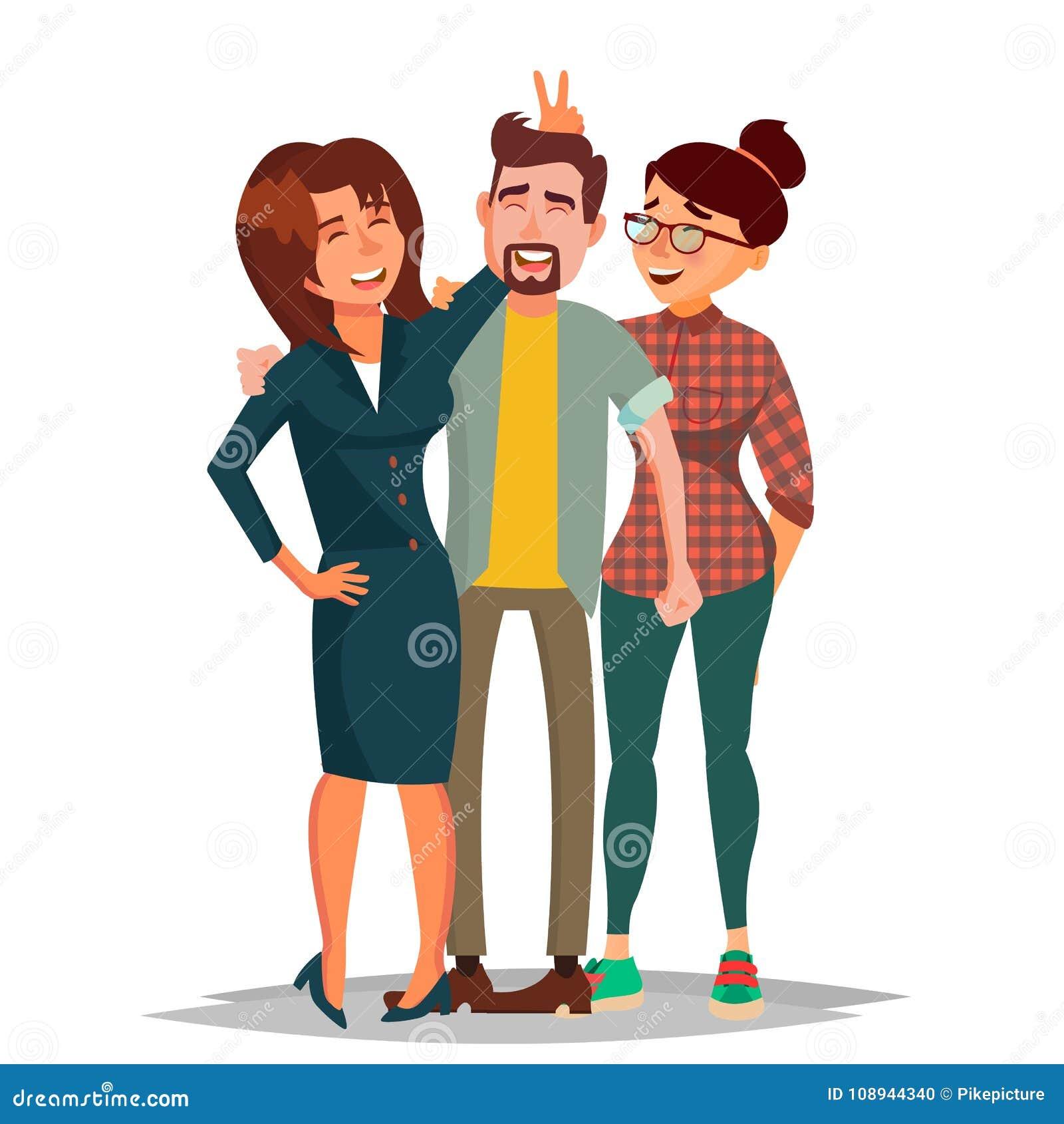 Друзья принимая вектор фото Смеясь над группа людей, коллеги офиса Творческие человек и женщины портрет 2 пеликанов приятельства