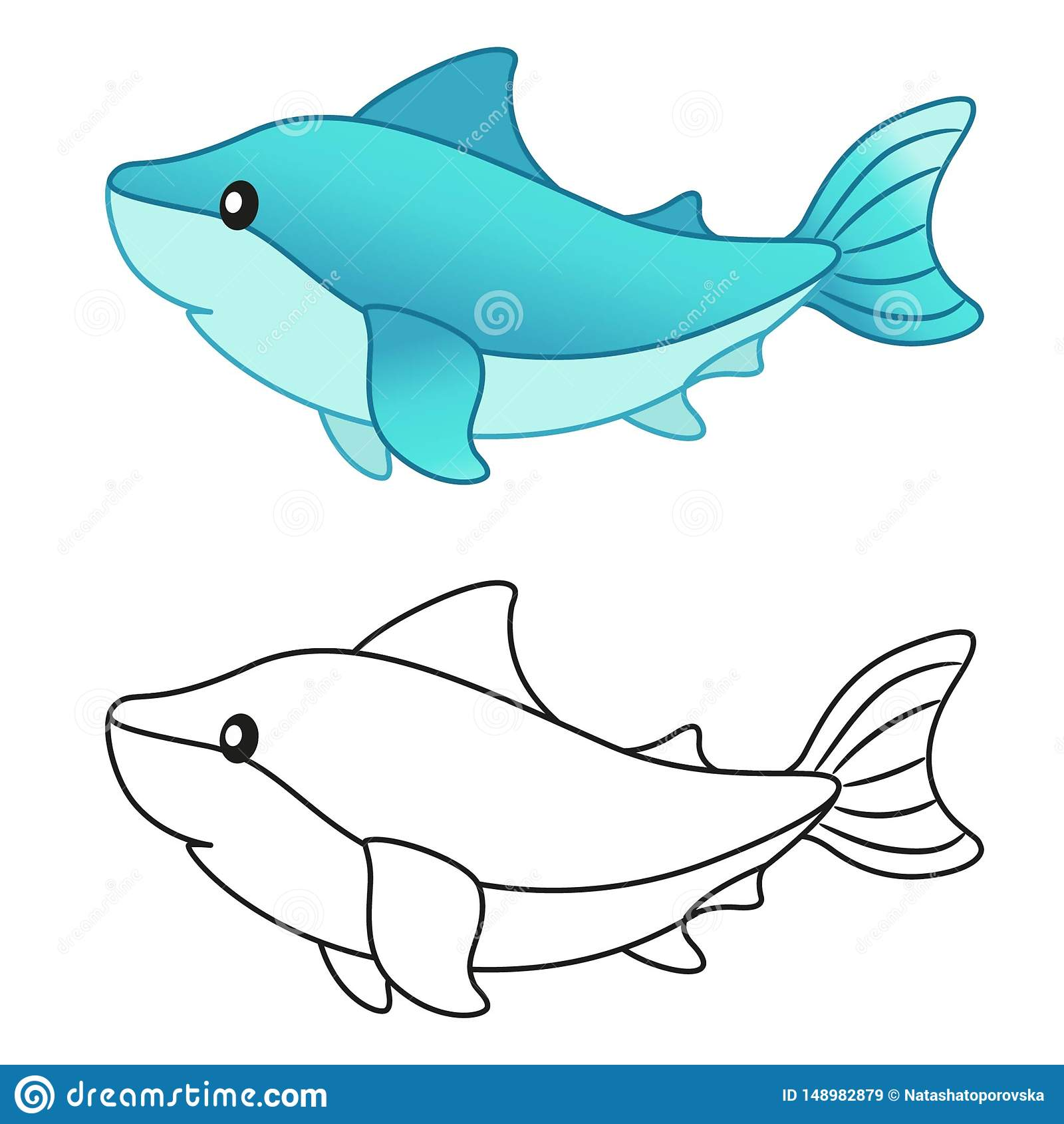 Shark Coloring Stock Illustrations – 18 Shark Coloring Stock ...