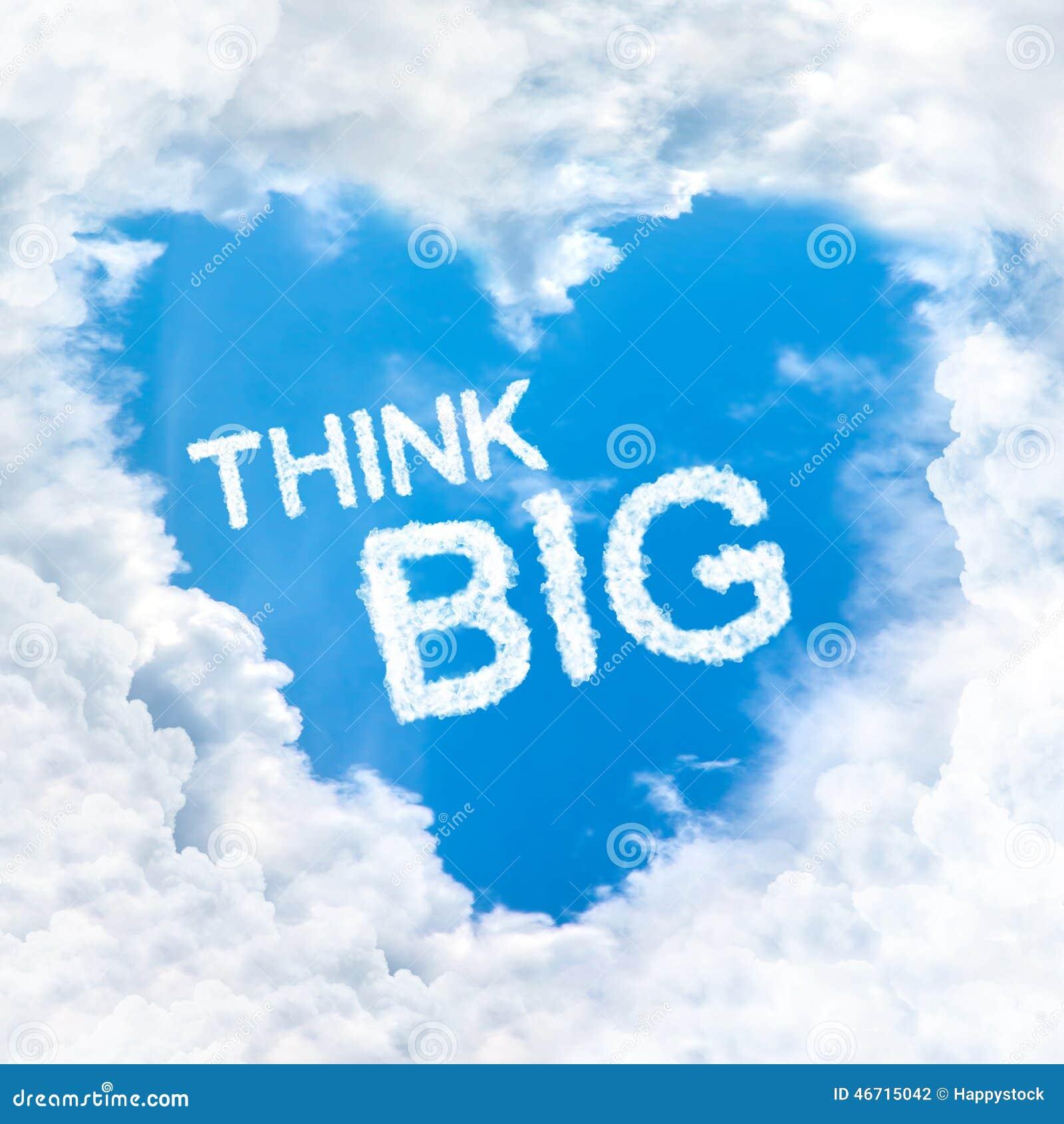 Думайте большое слово внутри неба облака влюбленности голубого только